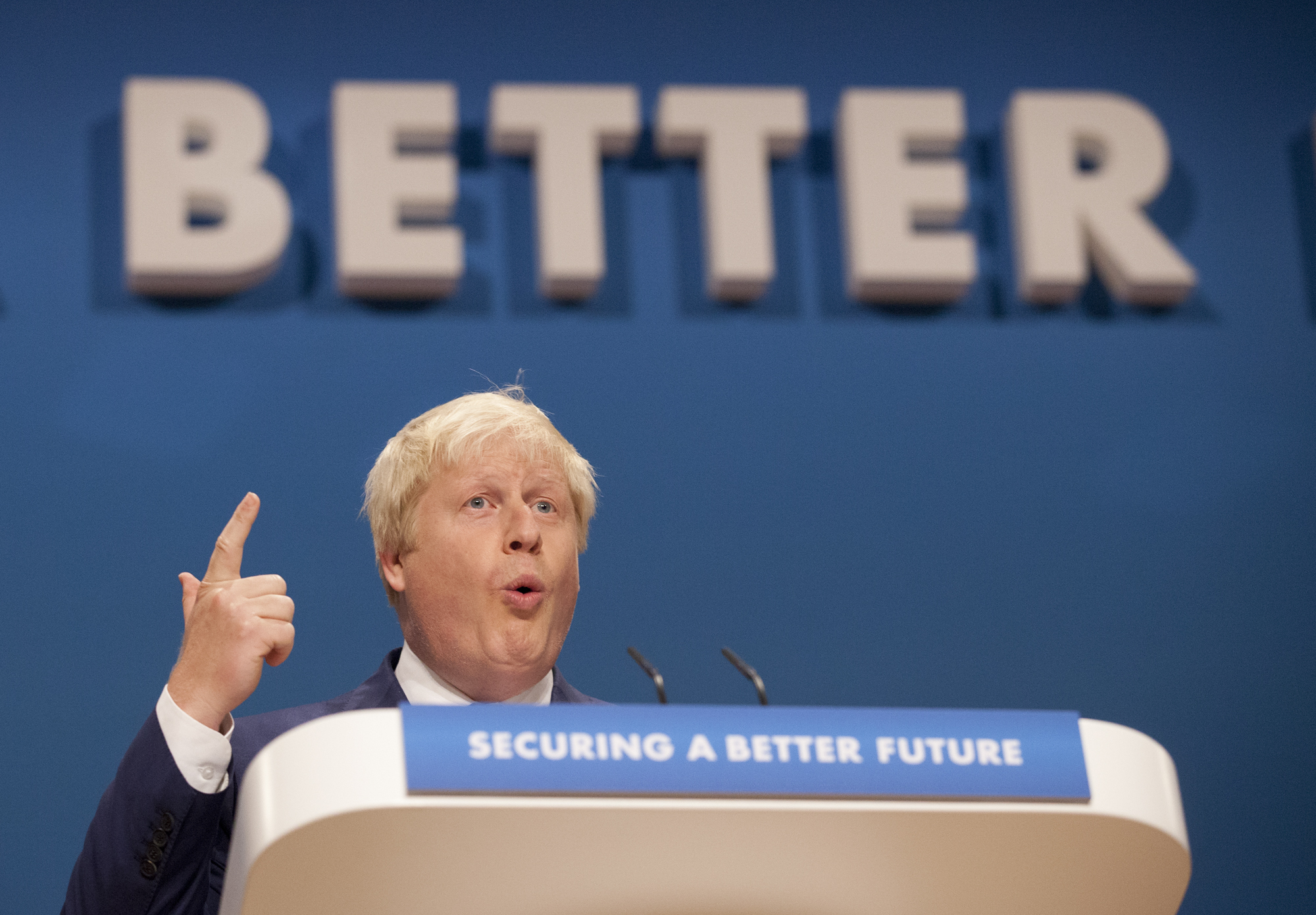 The Mayor of London Boris Johnson during the Conservative Party Conference 2014, at The ICC Birmingham.