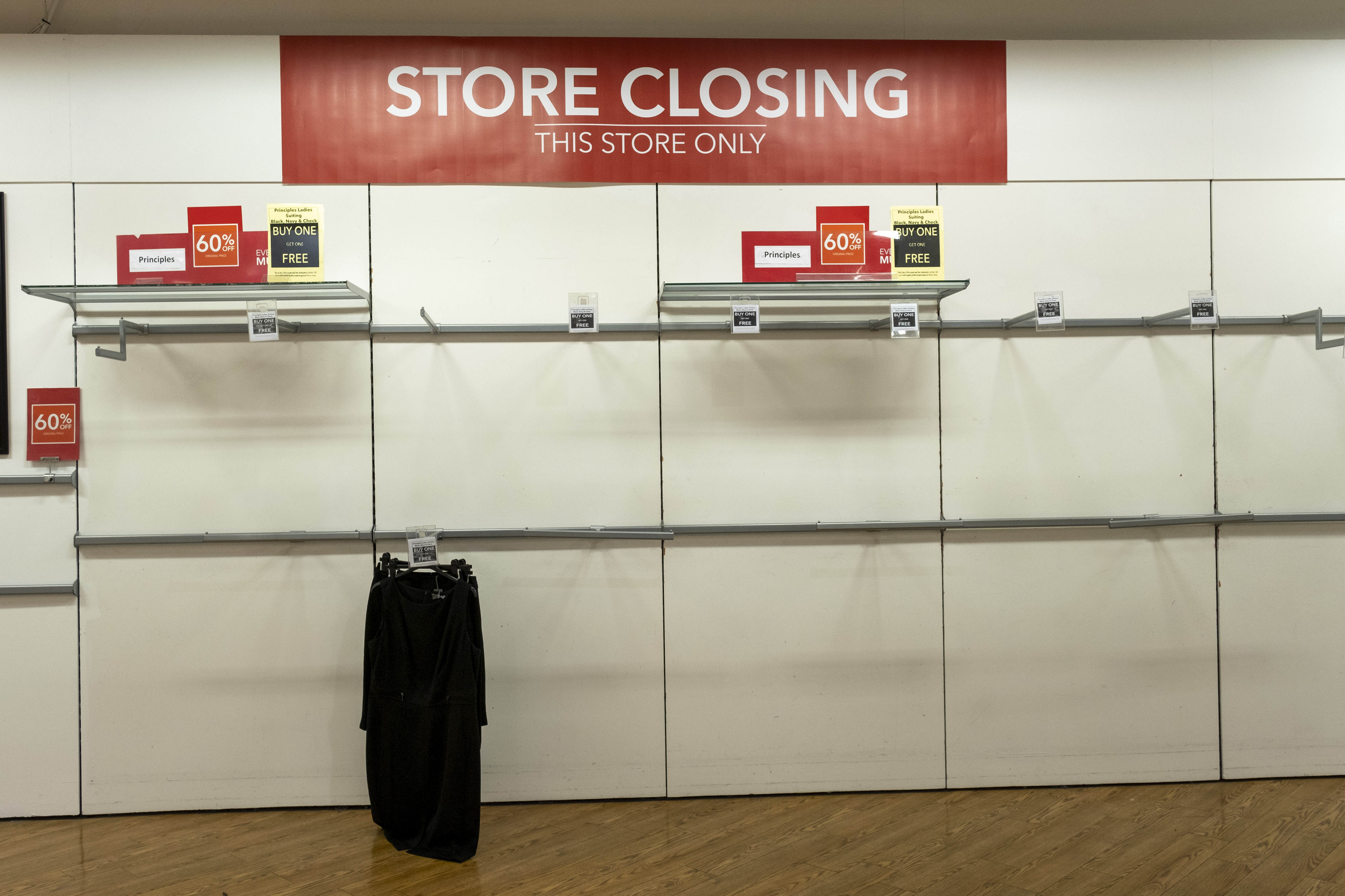 Empty shelves inside the Folkestone Debenhams store in the final few days of the Everything Must Go sale before closing down on 13th Jauary 2020 in Folkestone, Kent. United Kingdom. The company announced the closure of 19 stores across the UK after going into administration in 2019.  (photo by Andrew Aitchison / In pictures via Getty Images)