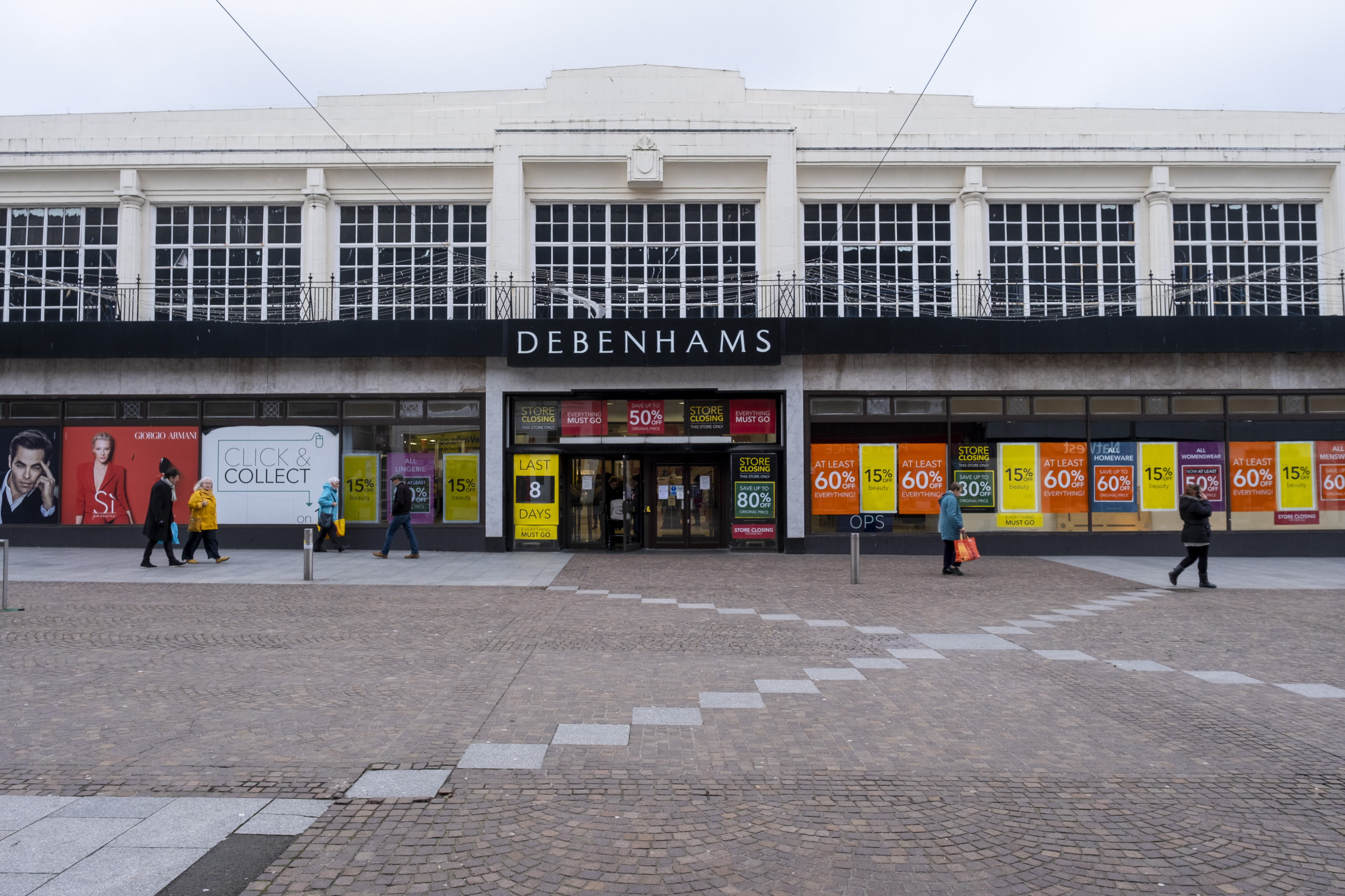 The Folkestone Debenhams store in the final few days of the Everything Must Go sale before closing down on 13th Jauary 2020 in Folkestone, Kent. United Kingdom. The company announced the closure of 19 stores across the UK after going into administration in 2019.  (photo by Andrew Aitchison / In pictures via Getty Images)
