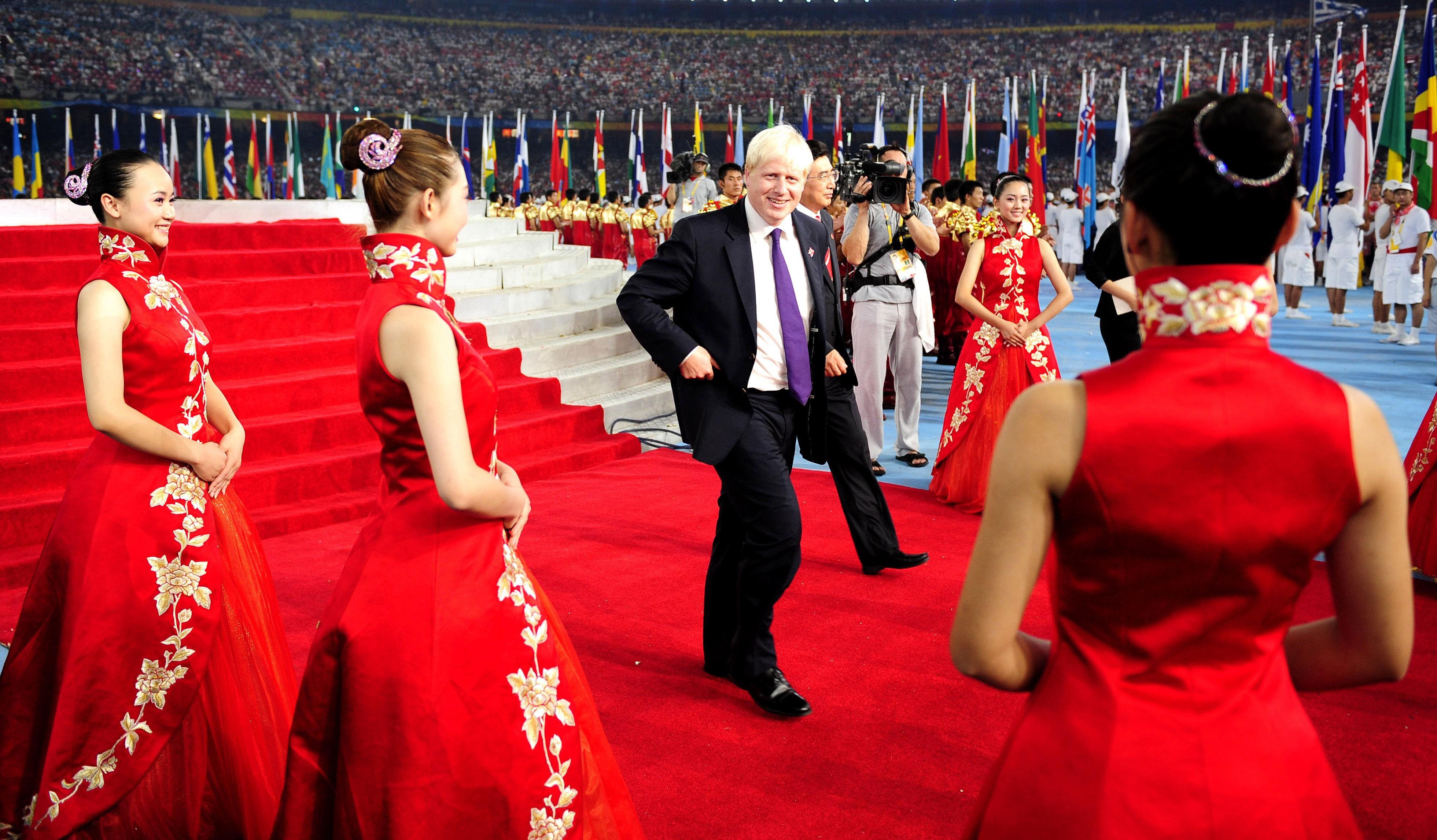 Mayor of London Boris Johnson during the Closing Ceremony at the National Stadium during the 2008 Beijing Olympic Games, China.