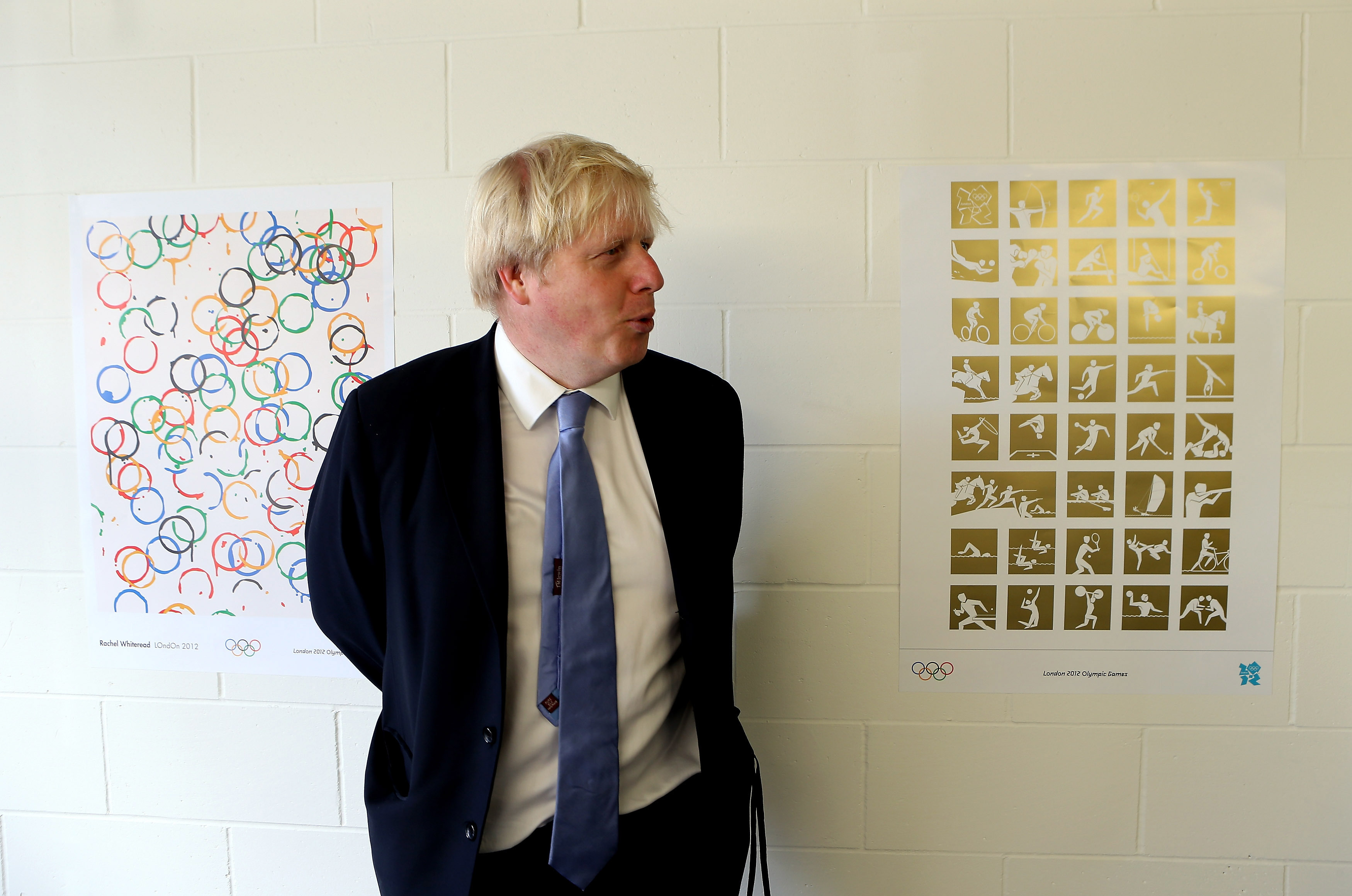 Mayor of London Boris Johnson visits the Olympic Park and Olympic Village in London.