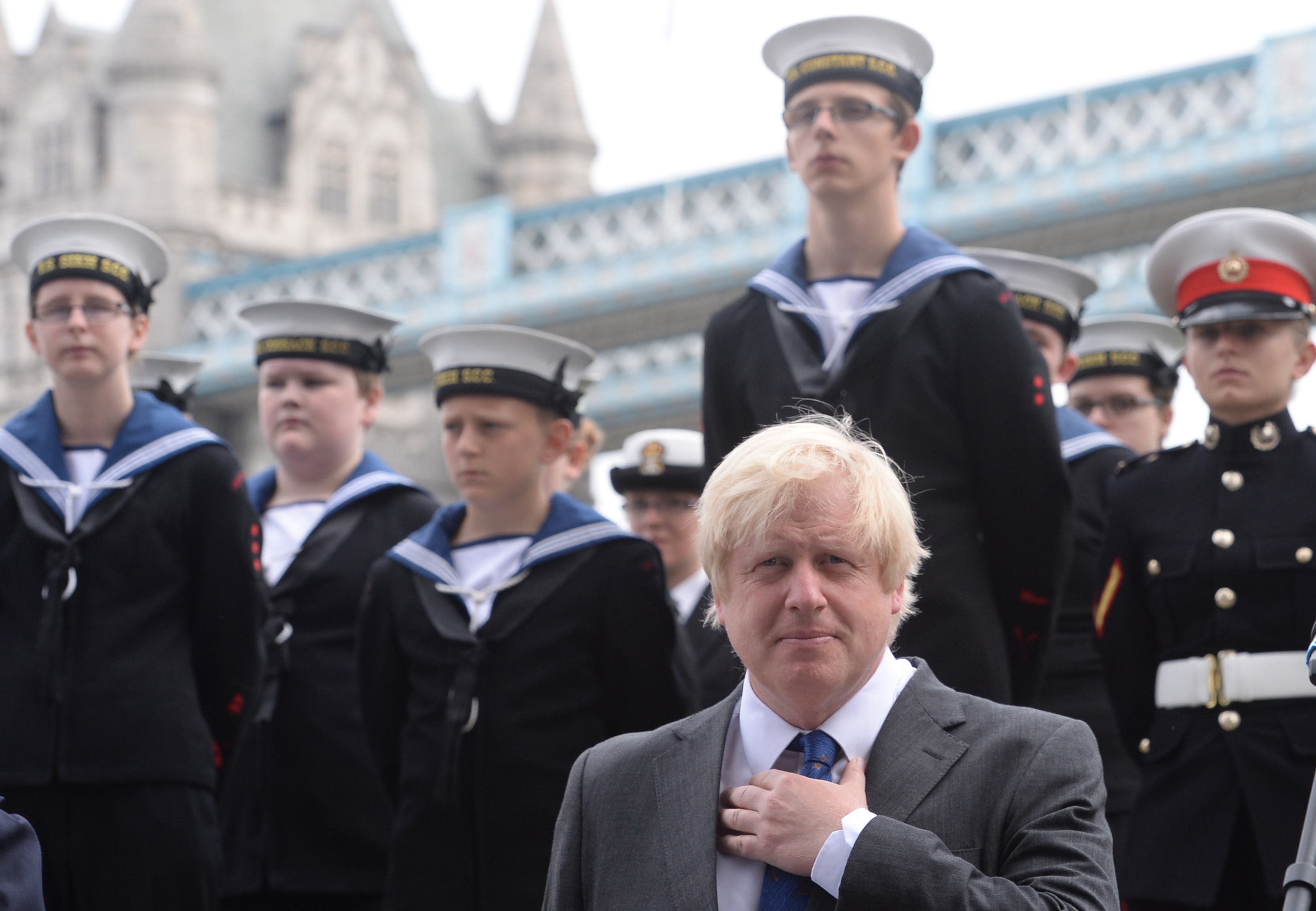 Mayor of London Boris Johnson attends a flag raising ceremony outside City Hall ahead of National Armed Forces Day on Saturday.