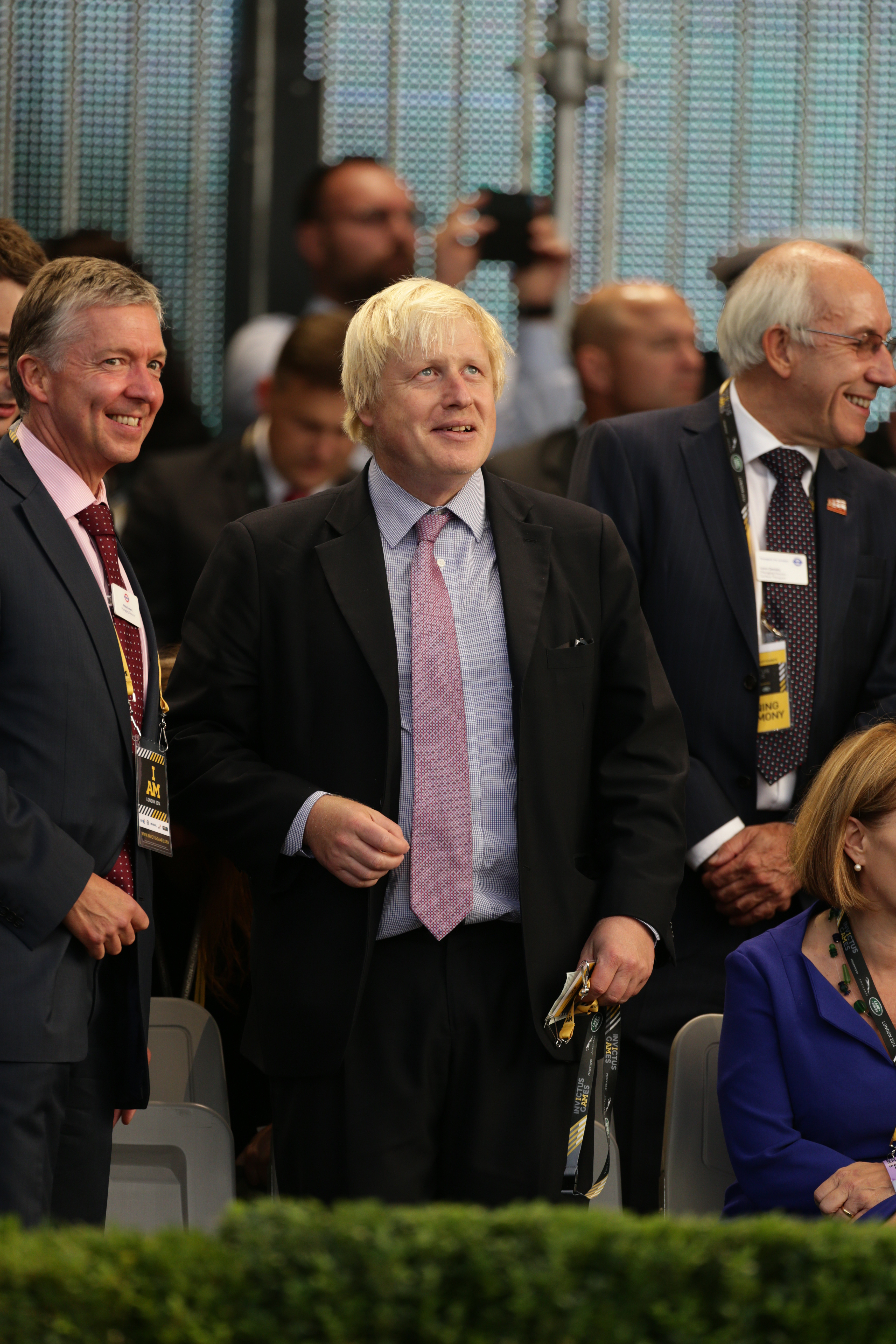 Mayor of London Boris Johnson (left) during the opening ceremony of he Invictus Games at the Queen Elizabeth Olympic Park, London.