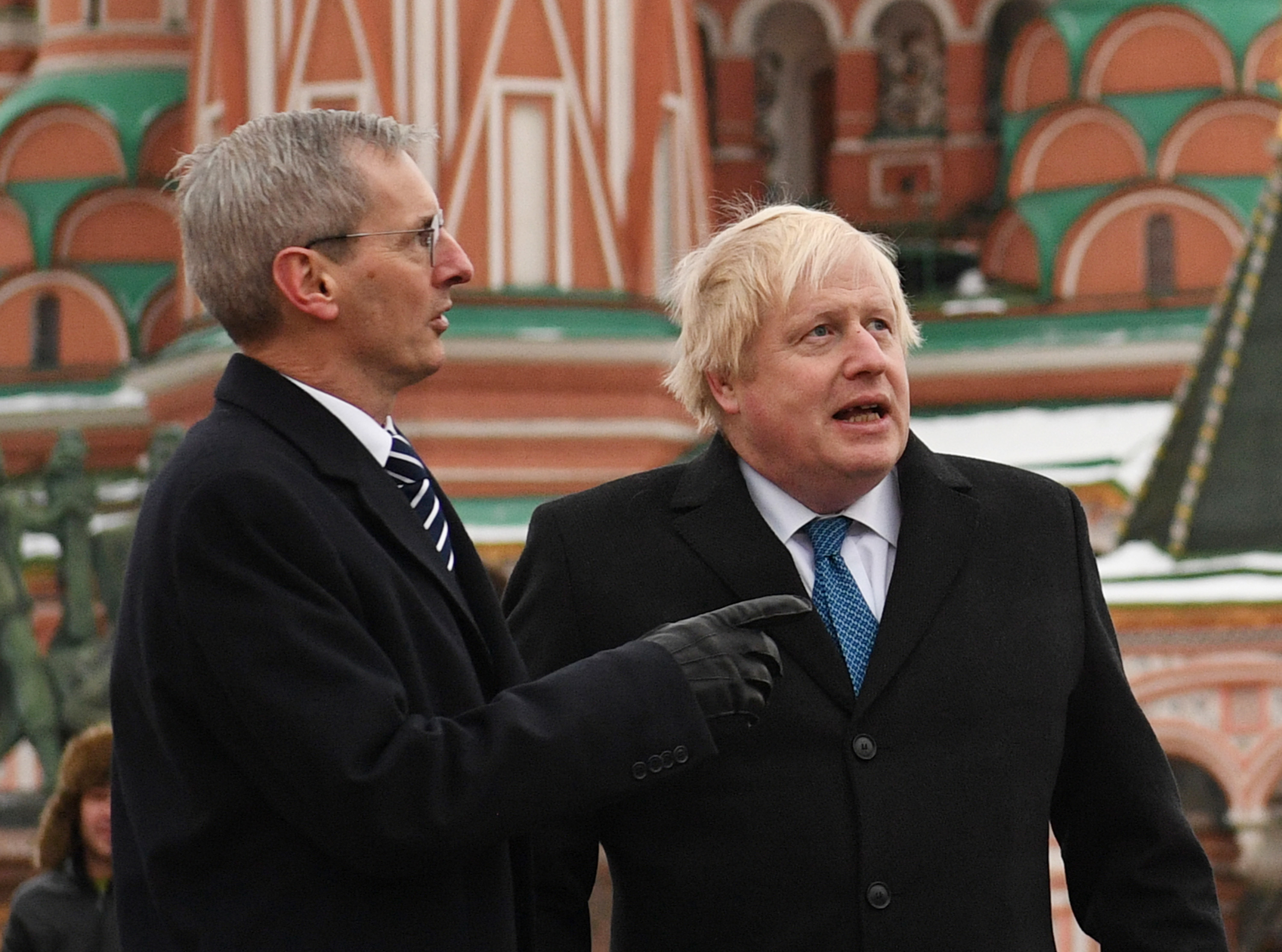 File photo dated 22/12/2017 of Dr Laurie Bristow, the UK's ambassador to Russia (left), with Boris Johnson when the Foreign Secrtary visited Moscow.