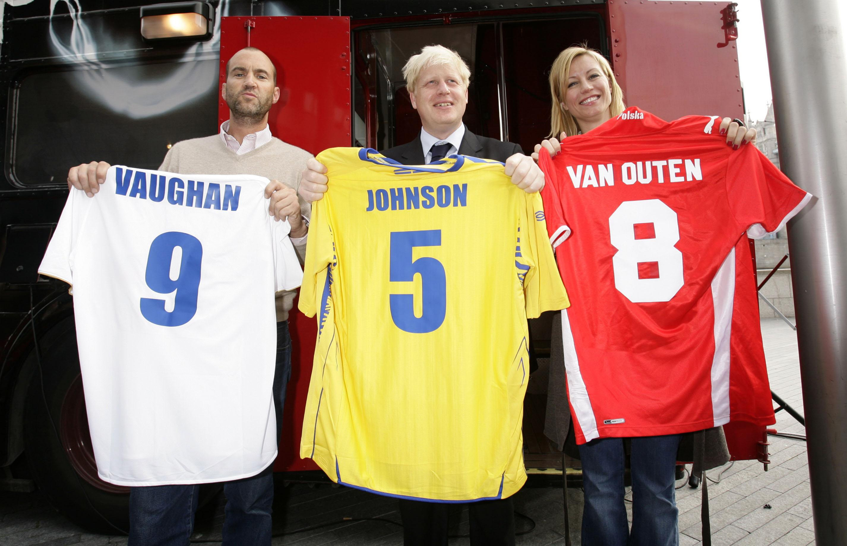 Mayor of London Boris Johnson (centre) with Capital FM Breakfast show DJ Johnny Vaughan (left) and Denise Van Outen (right) on a Routemaster bus at City Hall in London, holding the shirts of Euro 2008 football teams (left to right) Russia, Sweden and Poland which they drew from a sweepstake, in the absence of any British interest in the competition.