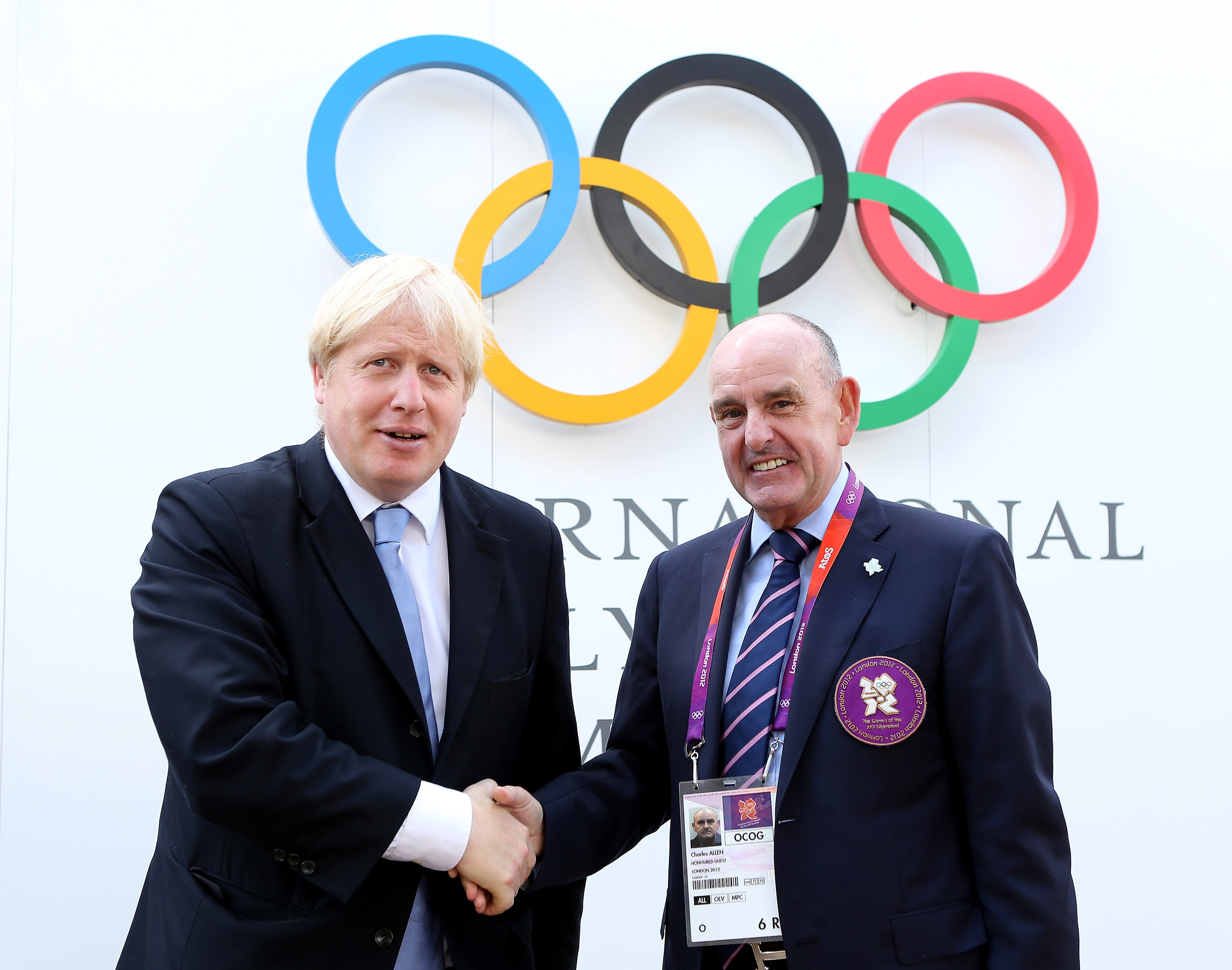 Mayor of London Boris Johnson meets Mayor of the Olympic Village Sir Charles Allen as he visits the Olympic Park and Olympic Village in London.