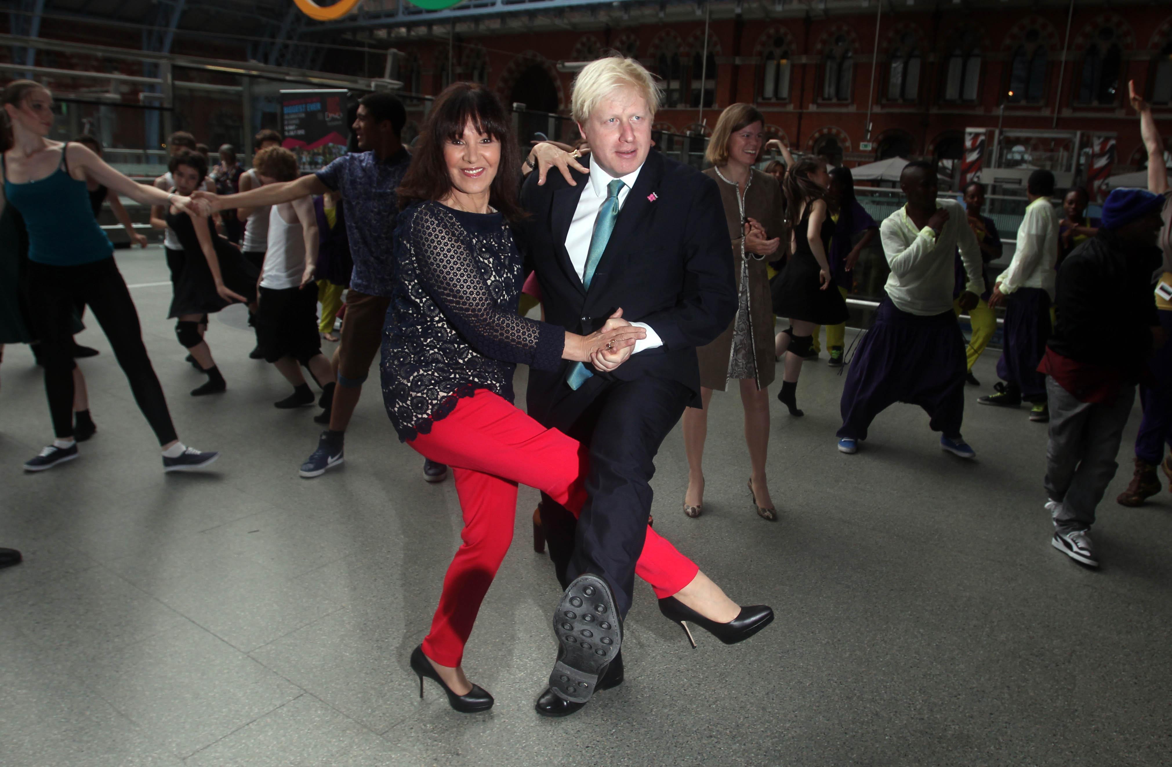 Mayor of London Boris Johnson and Arlene Phillips dance at St Pancras International Station during the launch of Big Dance 2012.