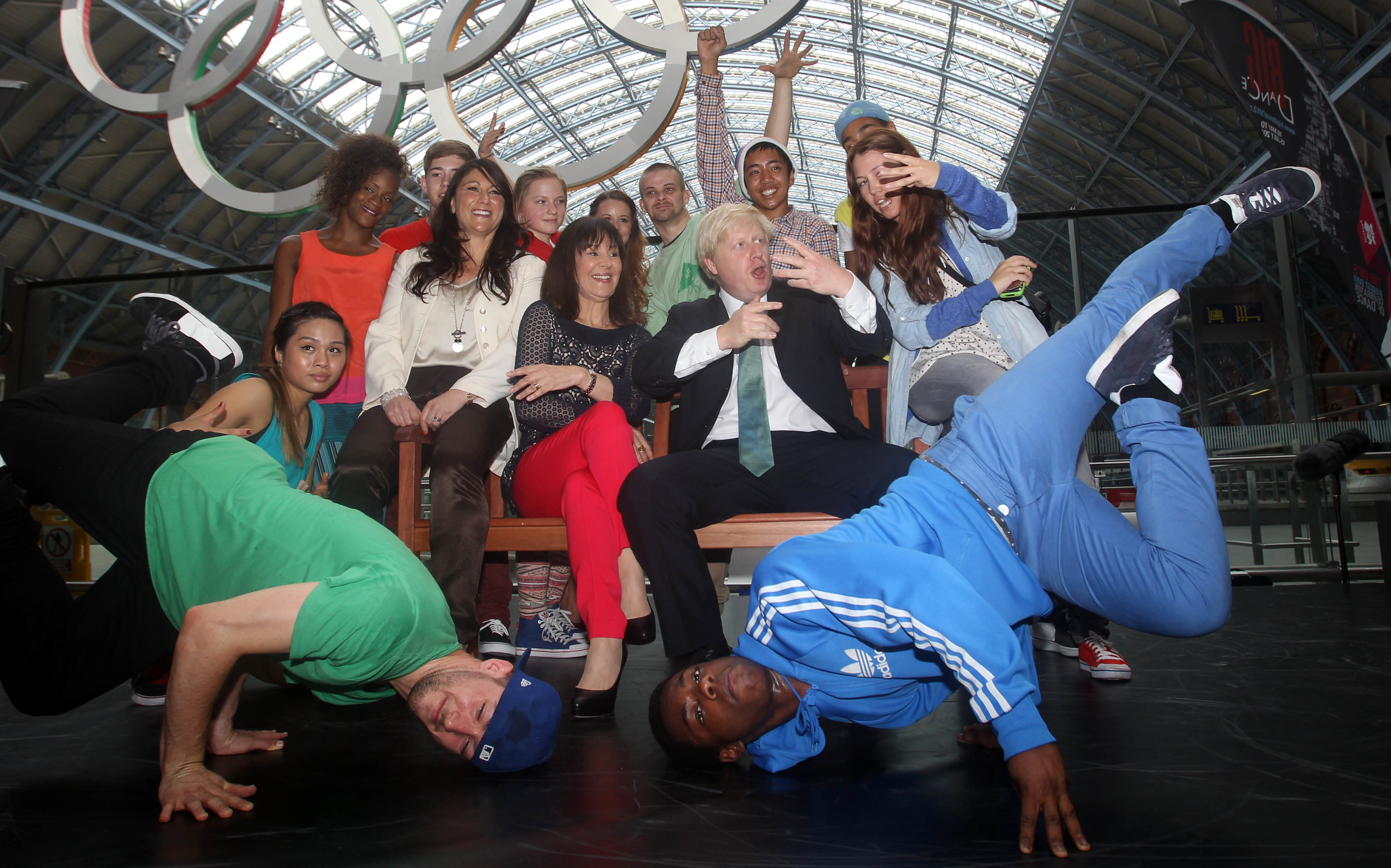 Mayor of London Boris Johnson and Arlene Phillips with a dance group at St Pancras International Station during the launch of Big Dance 2012.