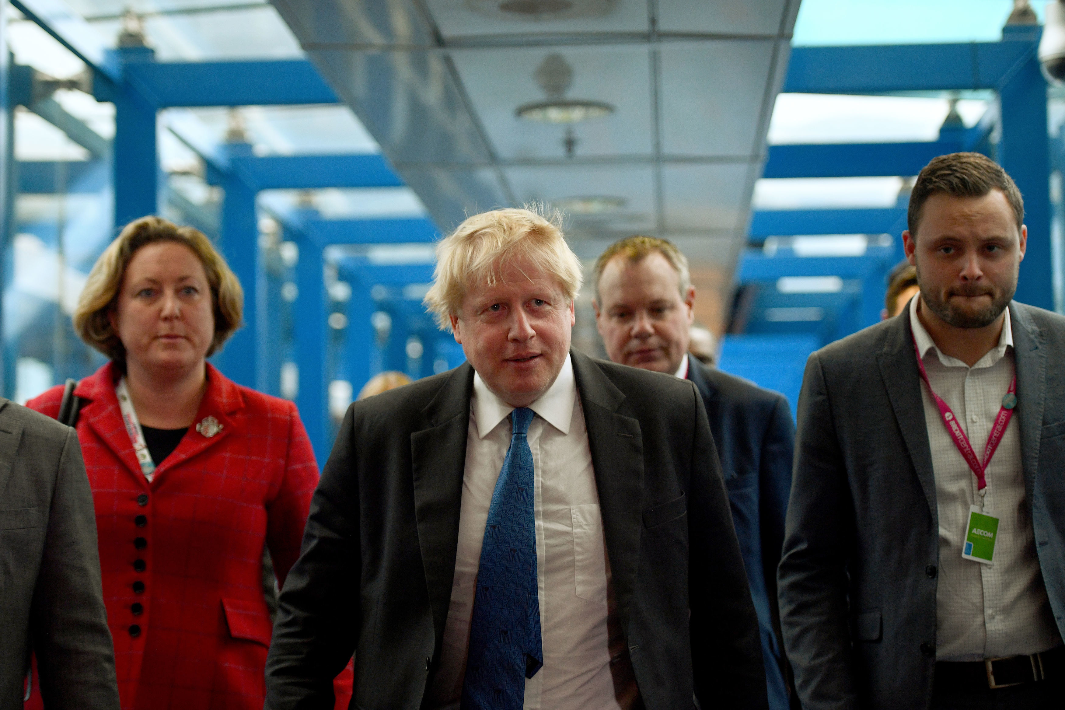 Boris Johnson arrives ahead of his speech at a fringe event at the Conservative Party annual conference at the International Convention Centre, Birmingham.