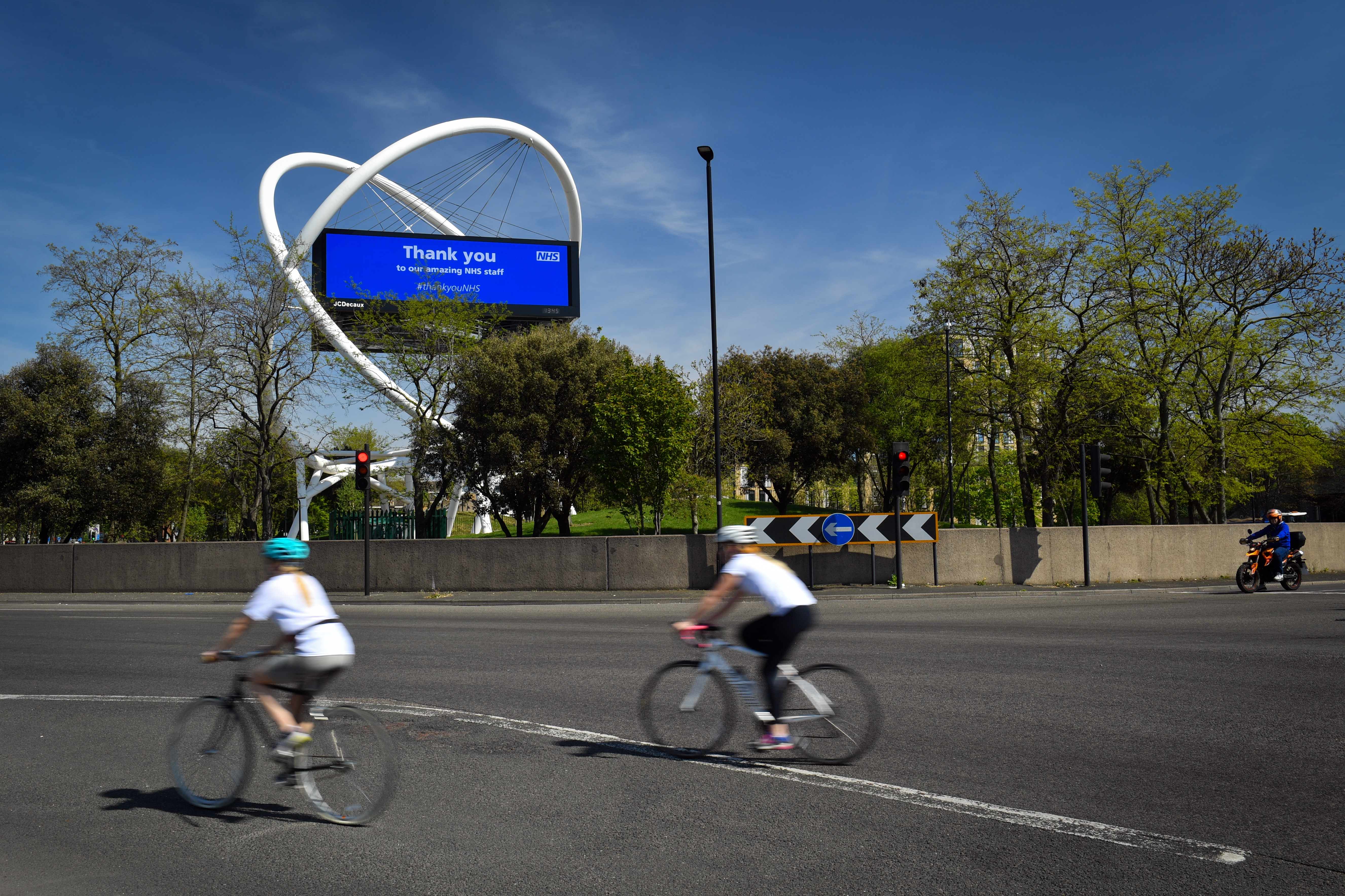 A large display thanking the NHS at Wandsworth roundabout as the UK continues in lockdown to help curb the spread of the coronavirus.