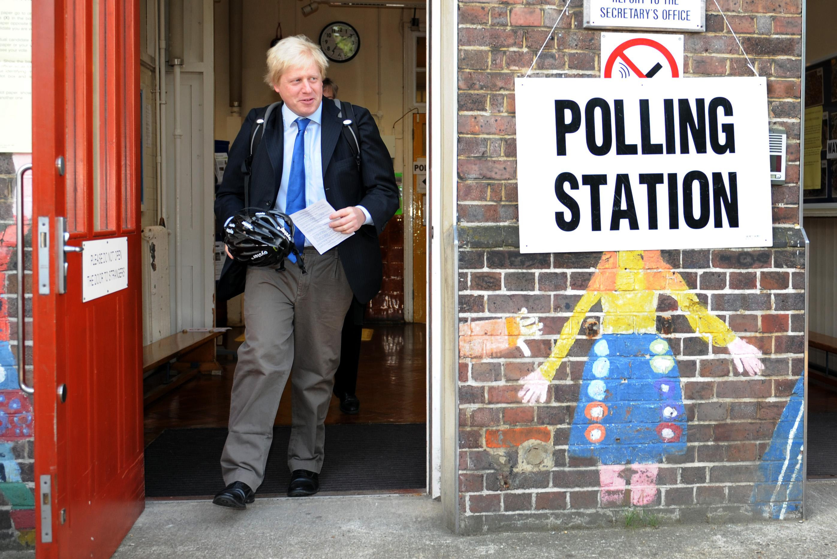 Mayor of London Boris Johnson leaves Laycock primary school in Islington, London, after voting in the local and European election.