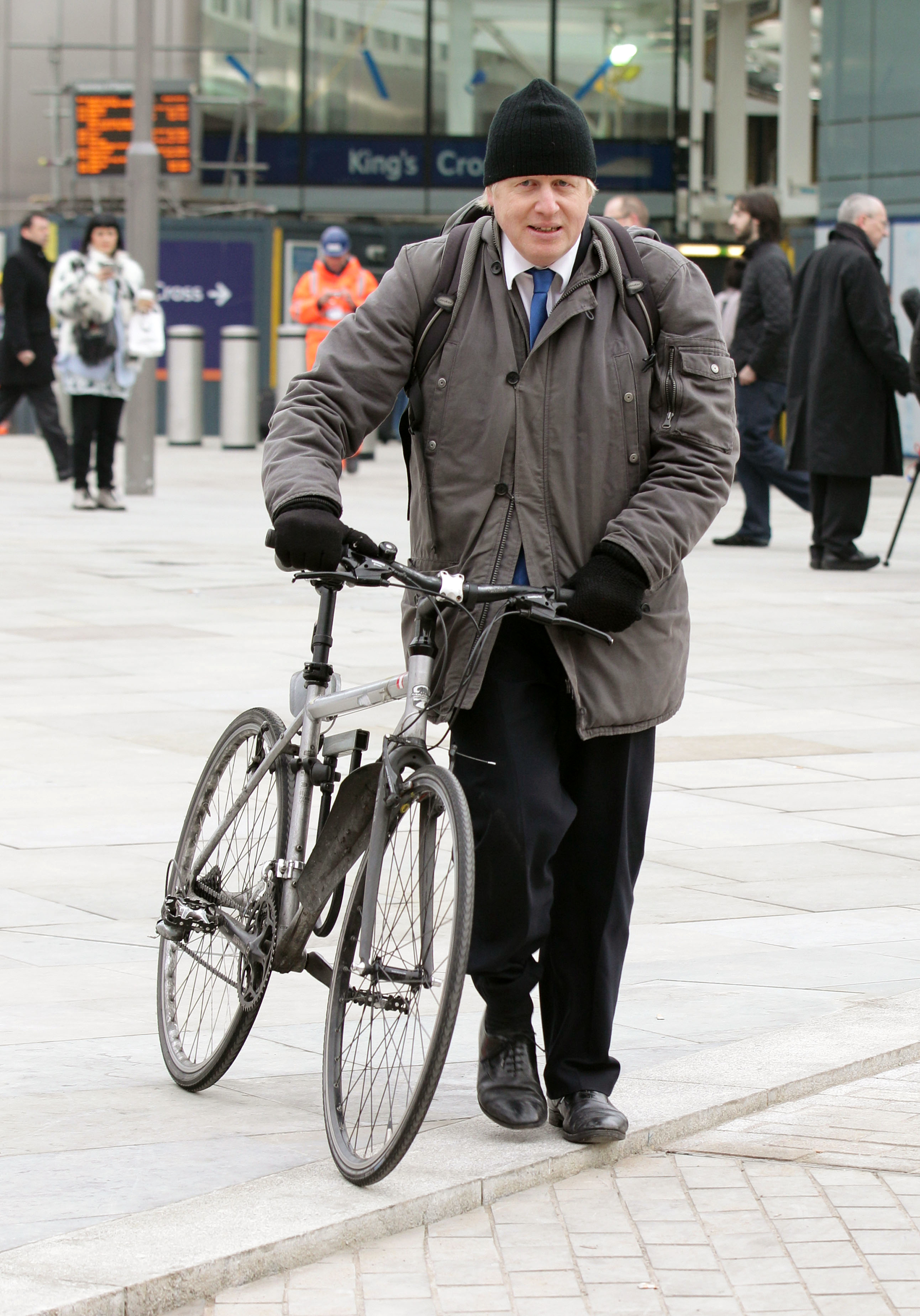 Boris Johnson leaving King's Cross station on his bike after attending the Get Ahead of the Games � Plan Your Travel in 2012 Event, an initiative to explain to commuters and the travelling public across London and the UK how transport networks will operate during Games-time and how they should plan their travel.