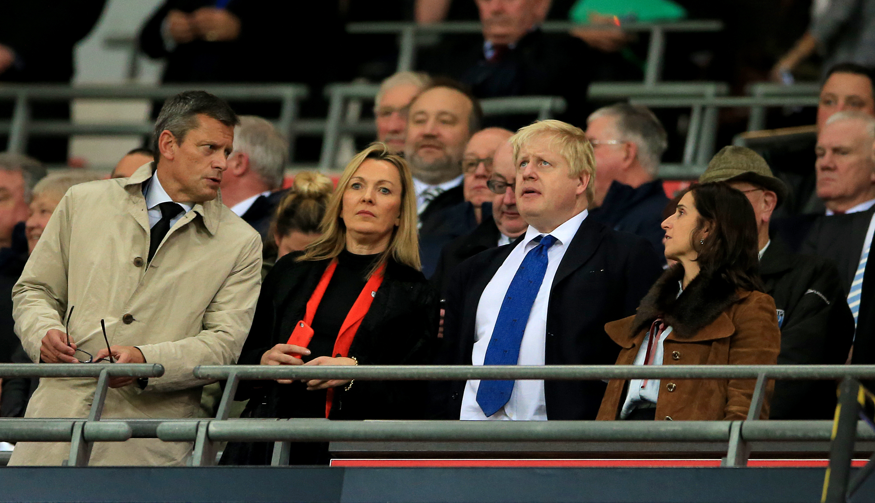 London Mayor Boris Johnson in the stands during the international friendly match at Wembley Stadium, London. PRESS ASSOCIATION Photo. Picture date: Tuesday November 17, 2015. See PA story SOCCER England. Photo credit should read: Nick Potts/PA Wire. RESTRICTIONS: Use subject to FA restrictions. Editorial use only. Commercial use only with prior written consent of the FA. No editing except cropping. Call +44 (0)1158 447447 or see paphotos.com/info for full restrictions and further information.