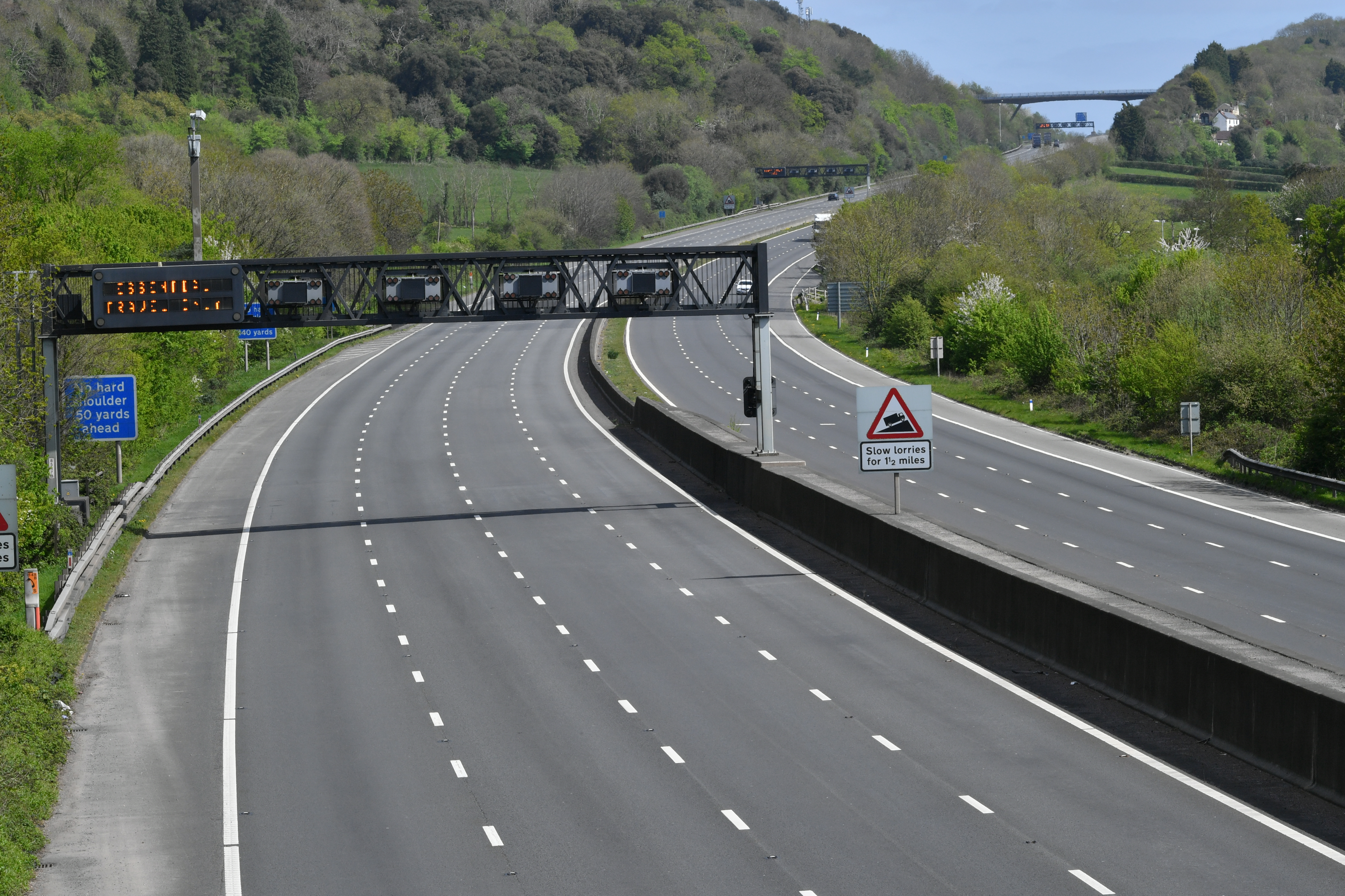 A deserted M5 motorway near Clevedon on Easter Bank Holiday Monday at midday, as the UK continues in lockdown to help curb the spread of the coronavirus.