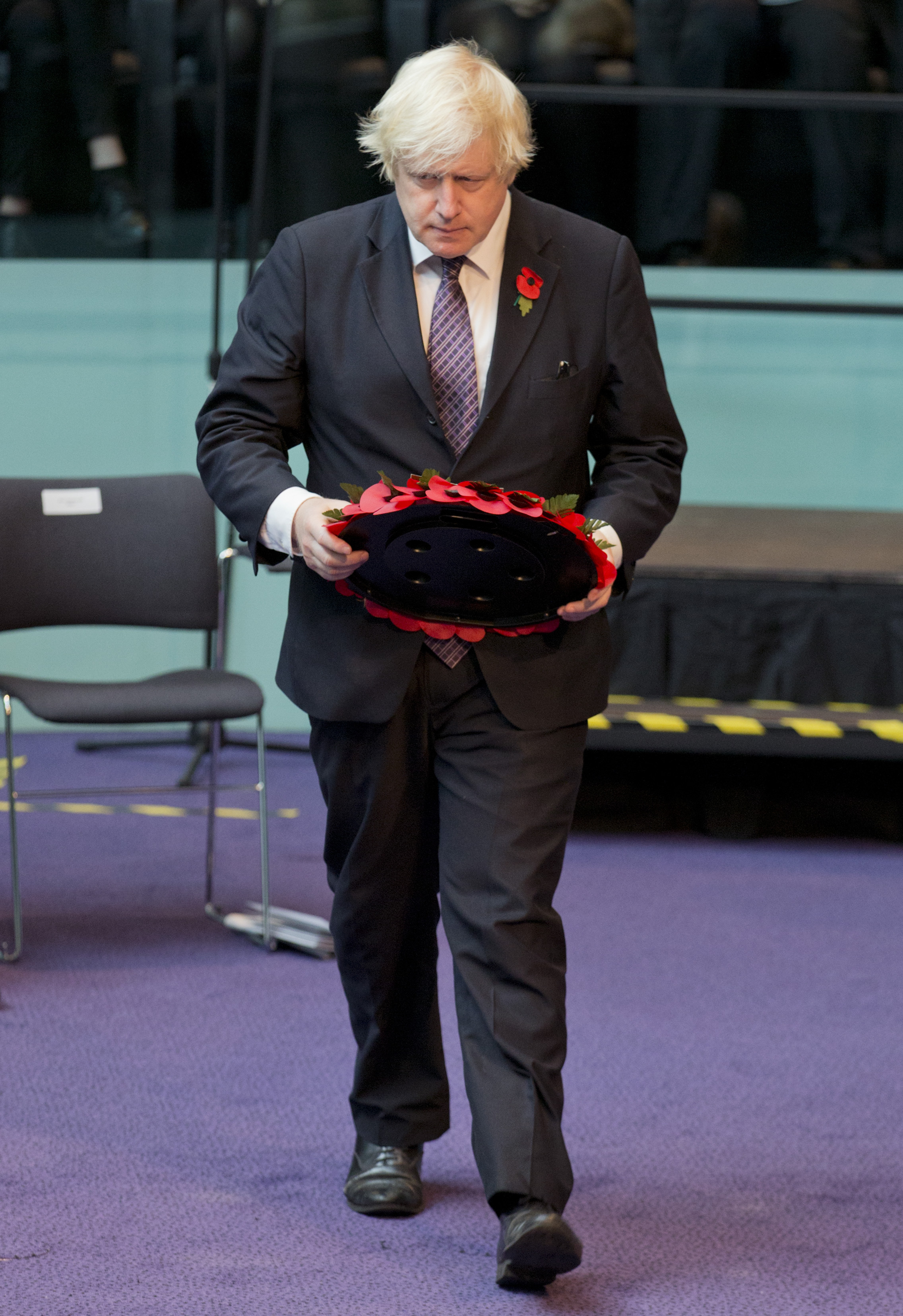 Mayor of London Boris Johnson lays a wreath during the GLA (Greater London Authority) Annual Service of Remembrance at City Hall in London.
