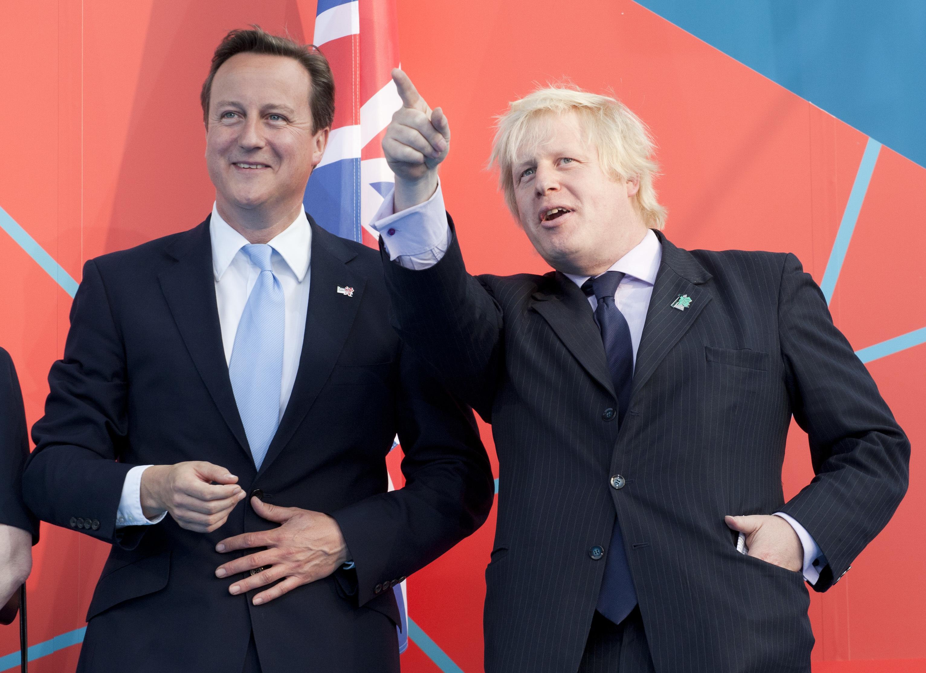 David Cameron and Boris Johnson during the' London 2012 One Year To Go' ceremony in Trafalgar Square. London