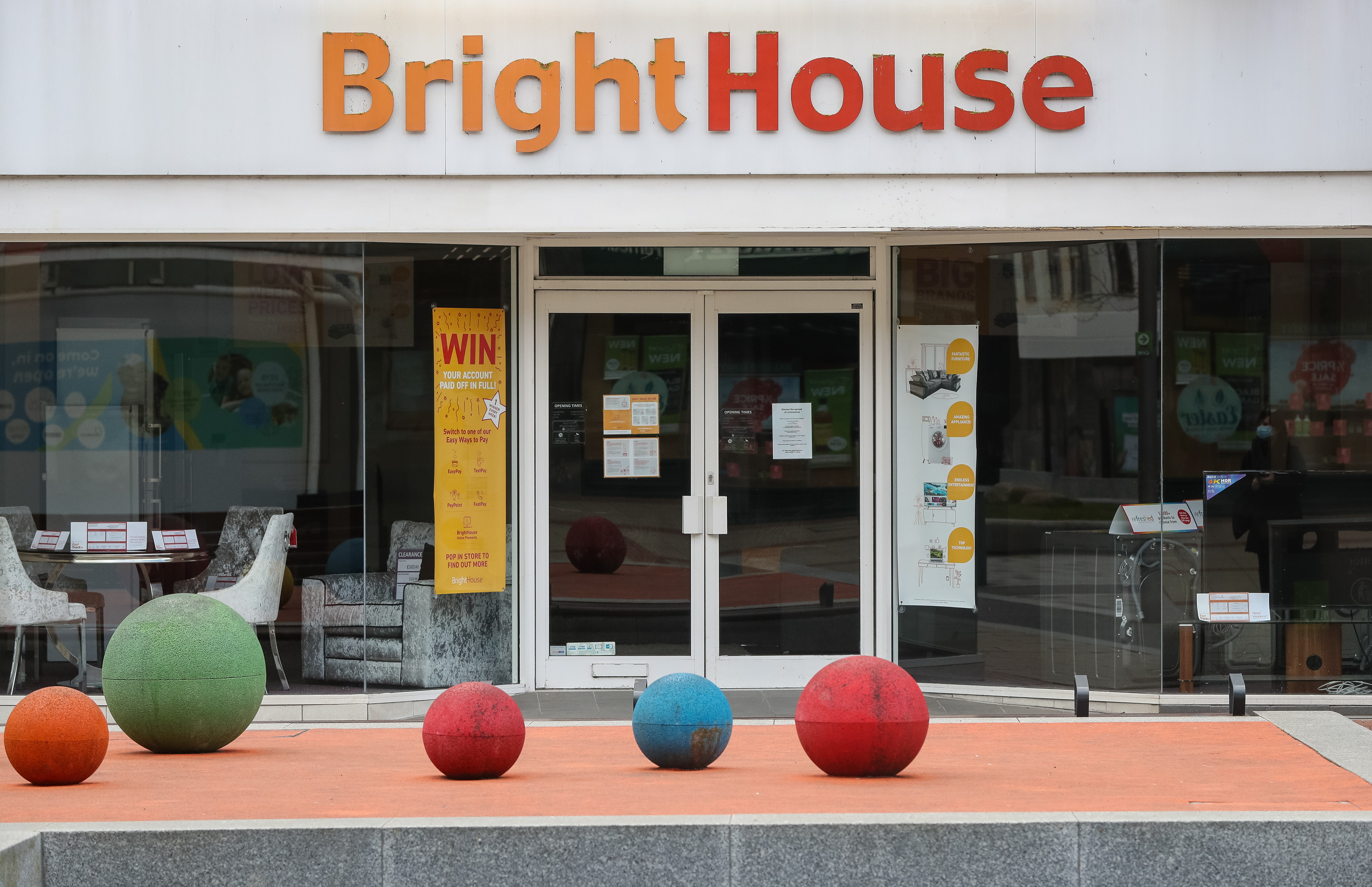 General view of a BrightHouse store in Marlowes, Hemel Hempstead, as the rent-to-own operator has confirmed it has fallen into administration with more than 2,400 jobs at risk. (Photo by Jonathan Brady/PA Images via Getty Images)