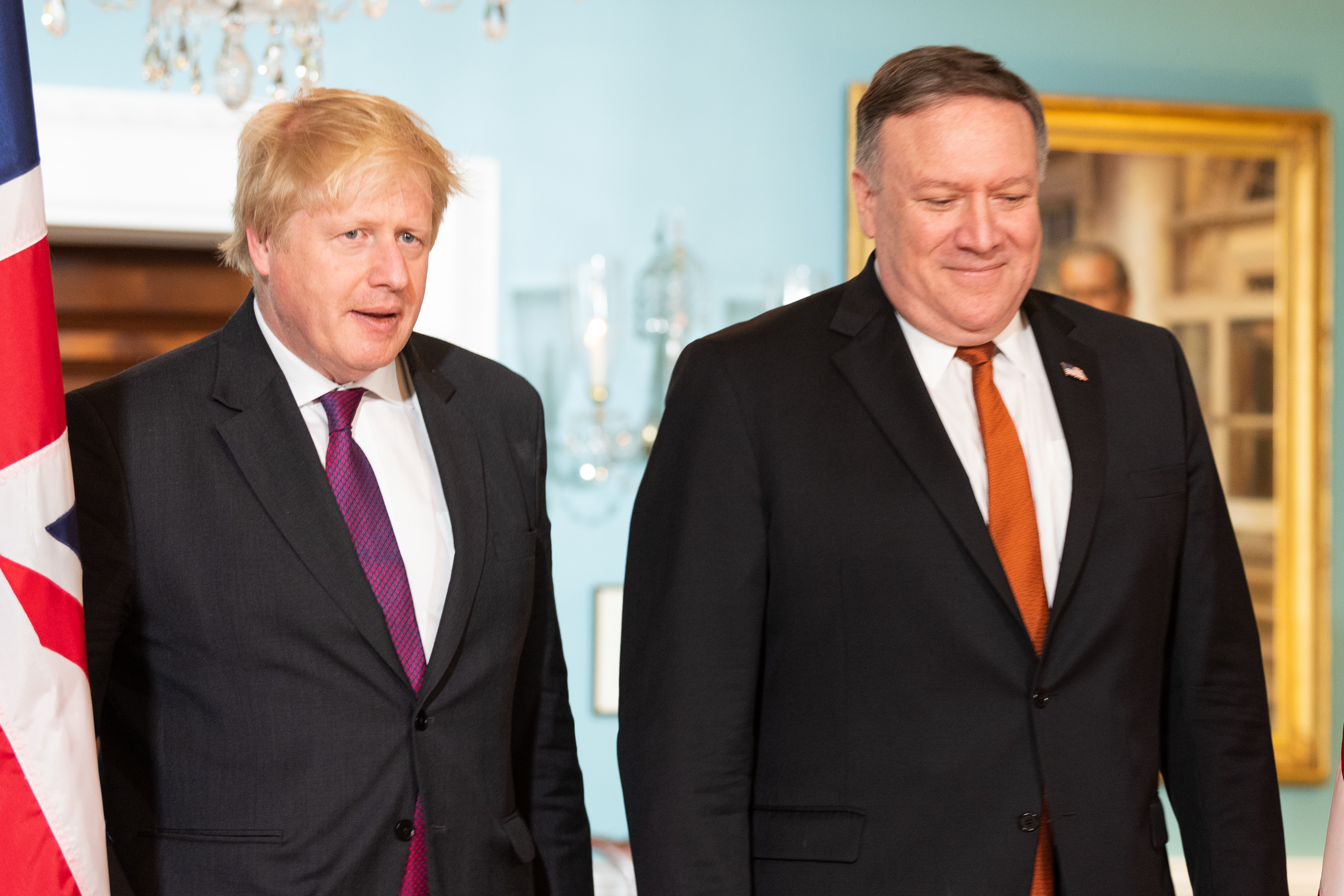 U.S. Secretary of State Mike Pompeo and UK Foreign Secretary Boris Johnson at the State Department in Washington, DC on May 7, 2018 (Photo by Michael Brochstein/Sipa USA)
