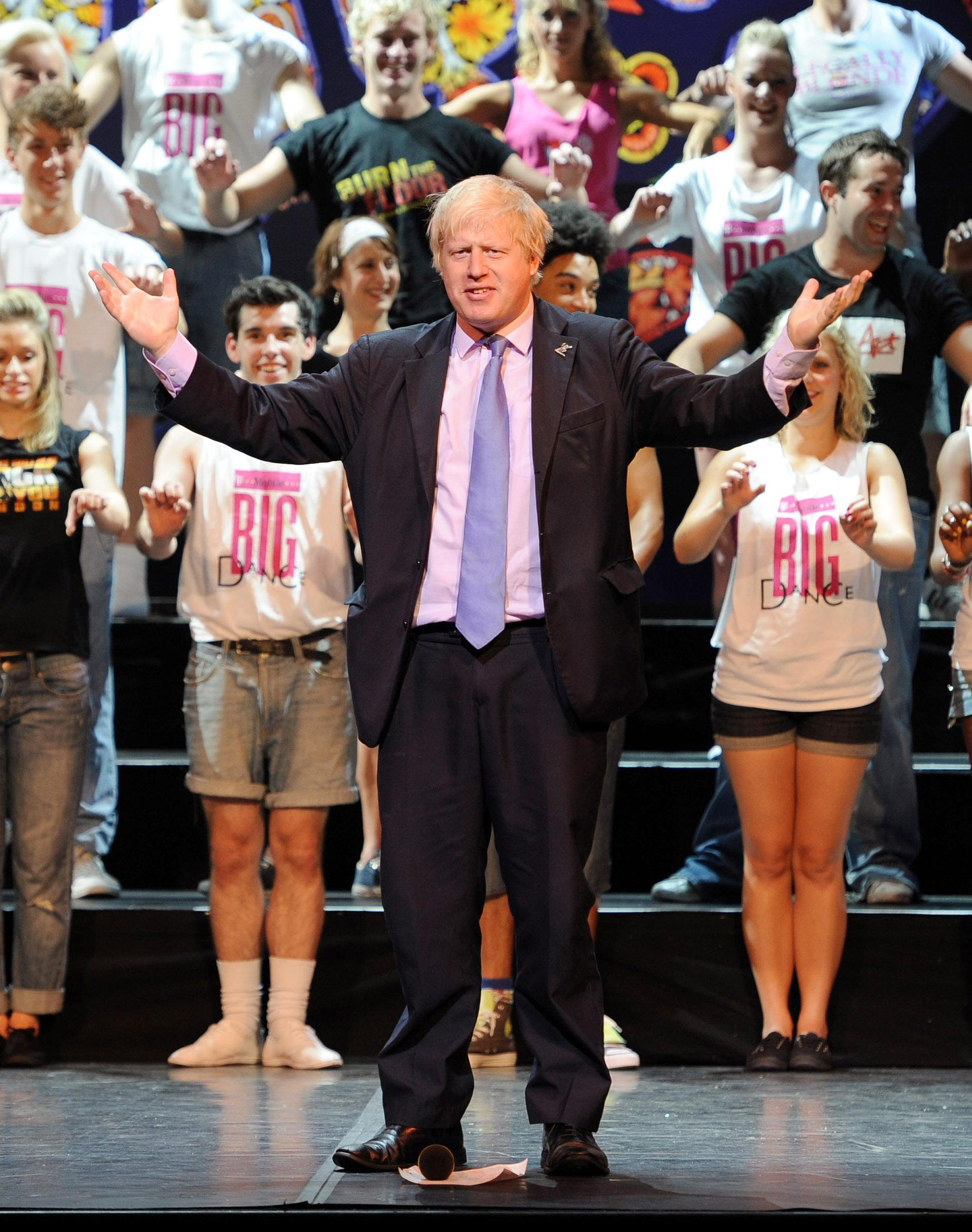 Mayor of London Boris Johnson takes to the stage to launch T-Mobile Big Dance 2010 at the London Palladium, London.