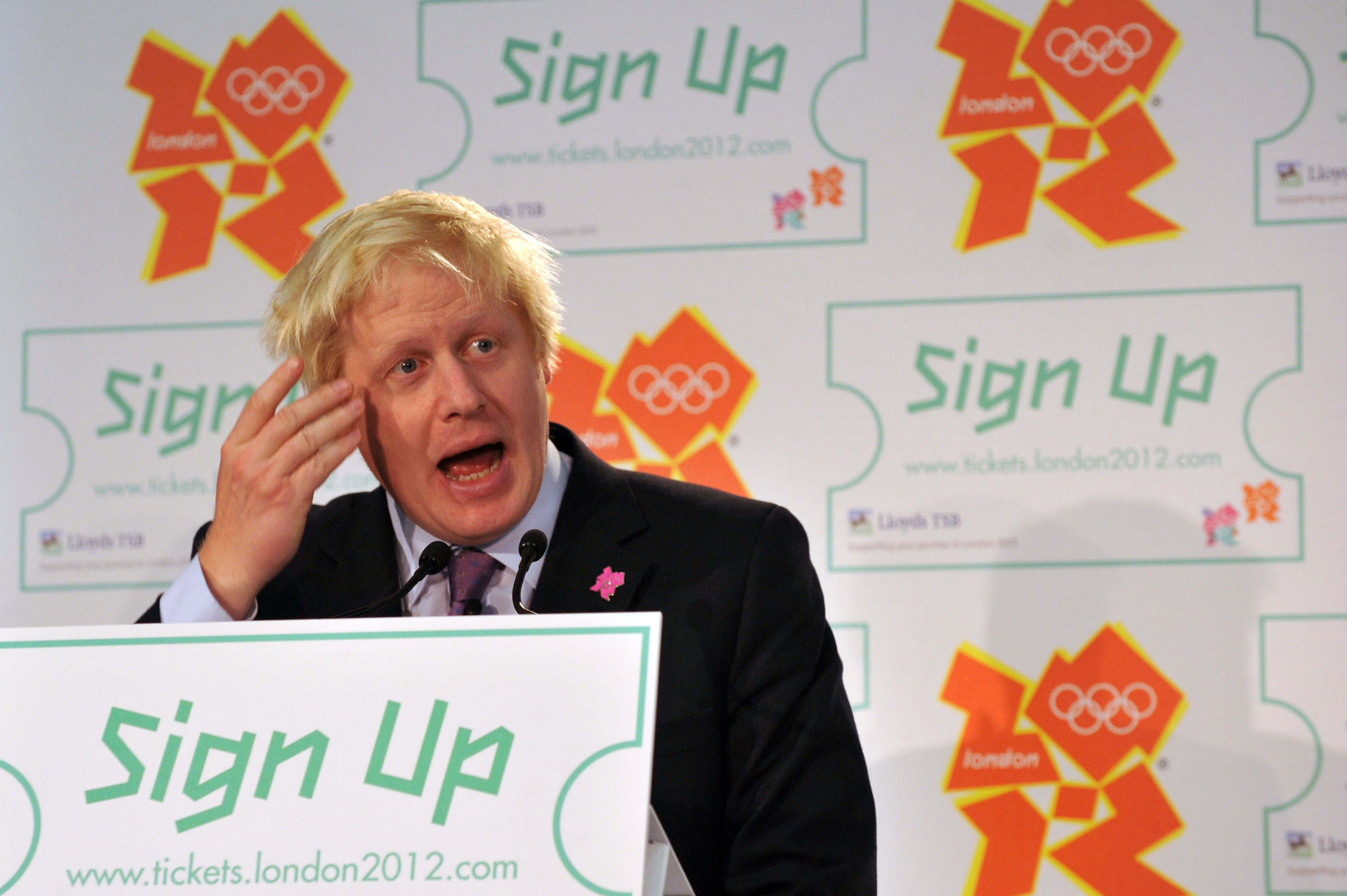 London Mayor Boris Johnson during a media conference at Newham Leisure Centre for the announcement of ticket prices for the London 2012 Olympics.