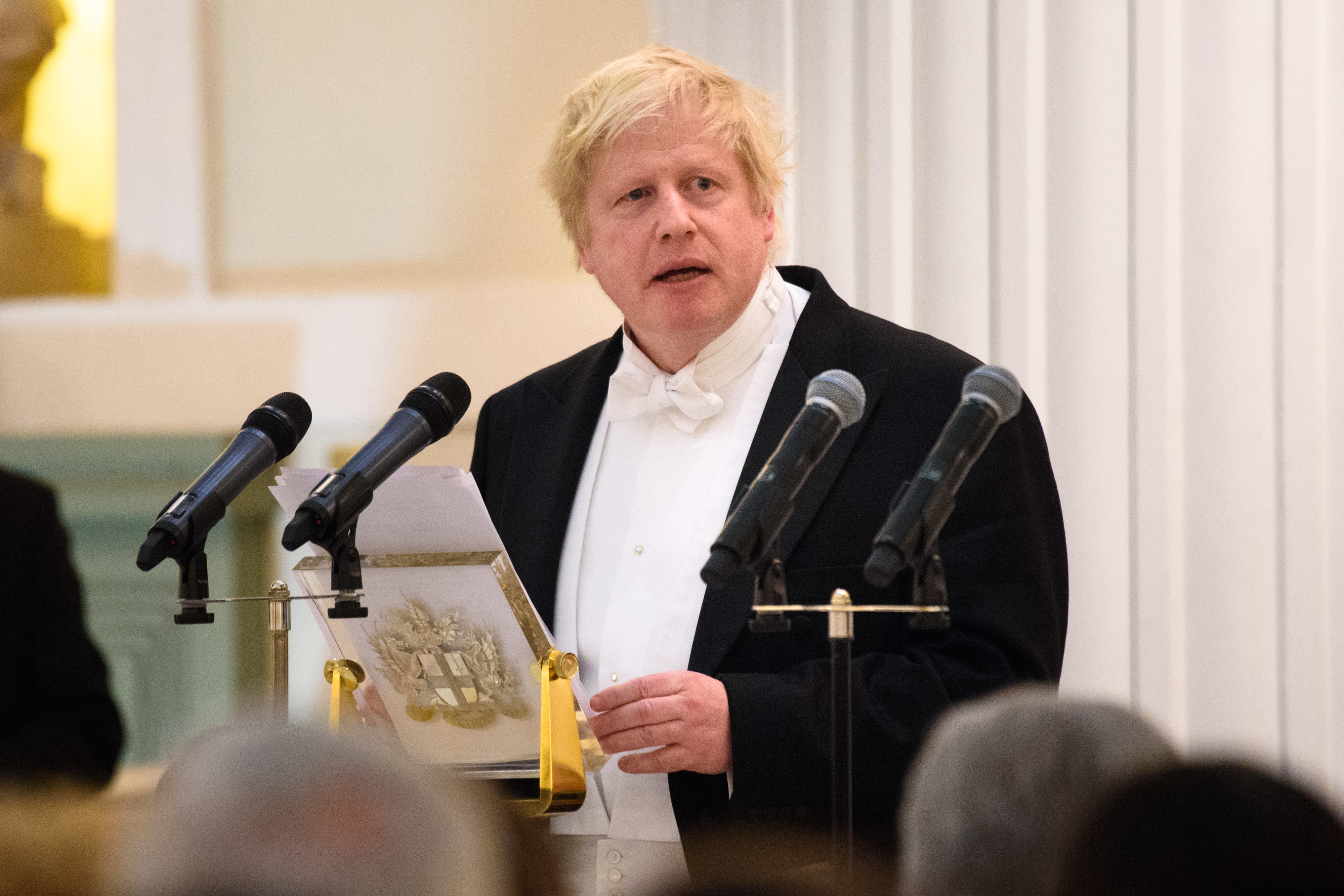Foreign Secretary Boris Johnson speaks during the Easter Banquet, hosted by the Lord Mayor, at Mansion House in the City of London. Picture date: Tuesday March 28th, 2018. Photo credit should read: Matt Crossick/ EMPICS Entertainment.