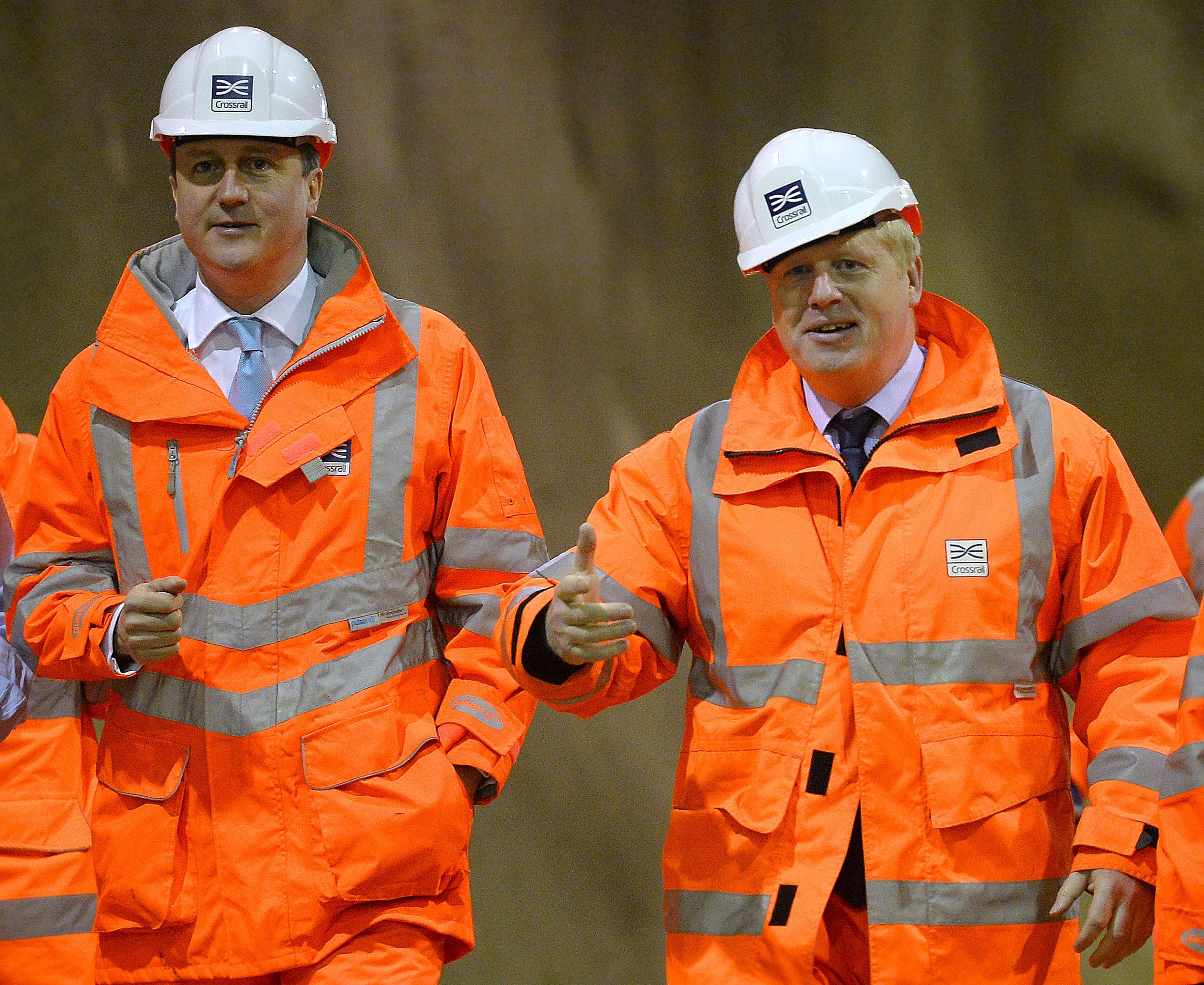 Prime Minister David Cameron (left) and Mayor of London Boris Johnson during a visit to a Crossrail construction site underneath Tottenham Court Road in central London. The Crossrail project, which is expected to be completed in 2018, will link Berkshire, west of London with Essex, east of London.