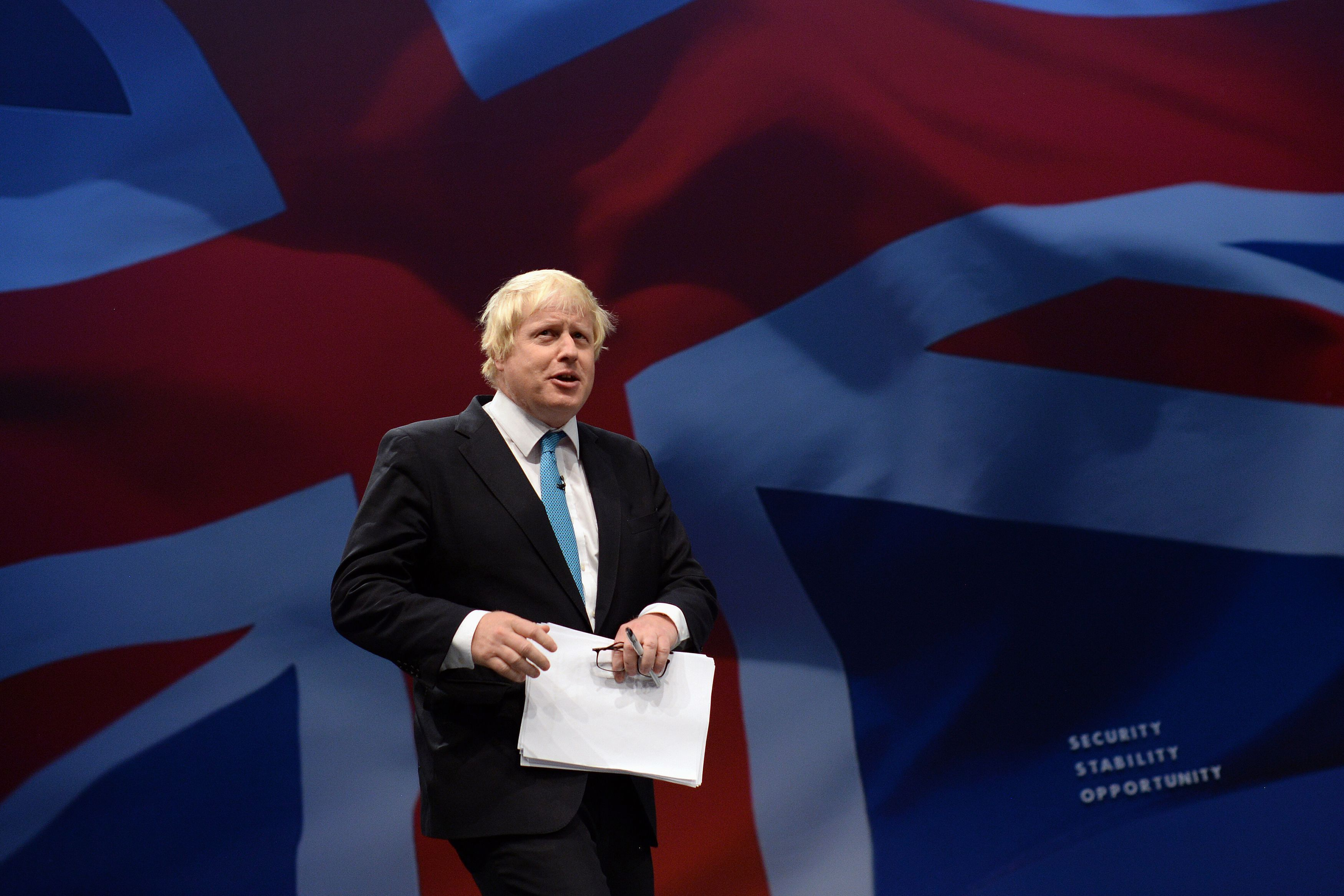 Boris Johnson, MP for Uxbridge, delivers his speech to the Conservative Party conference at Manchester Central.