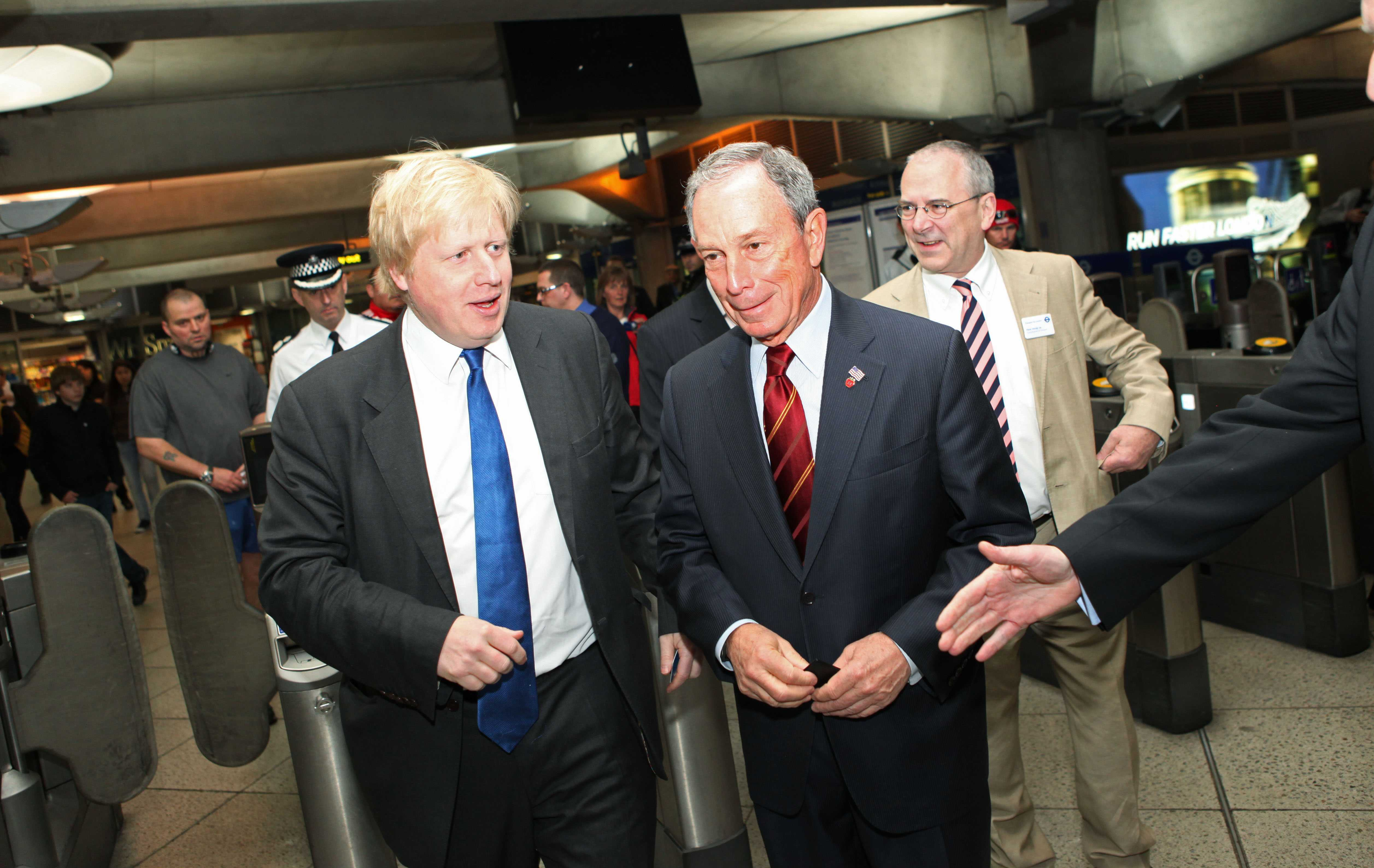 11 May 2010 - London, England - NYC Mayor Michael Bloomberg (Right) with Mayor of London Boris Johnson at Westminster undergound station. Photo Credit: Chris Ratcliffe/Office of Mayor Bloomberg/Sipa Press/1005111916