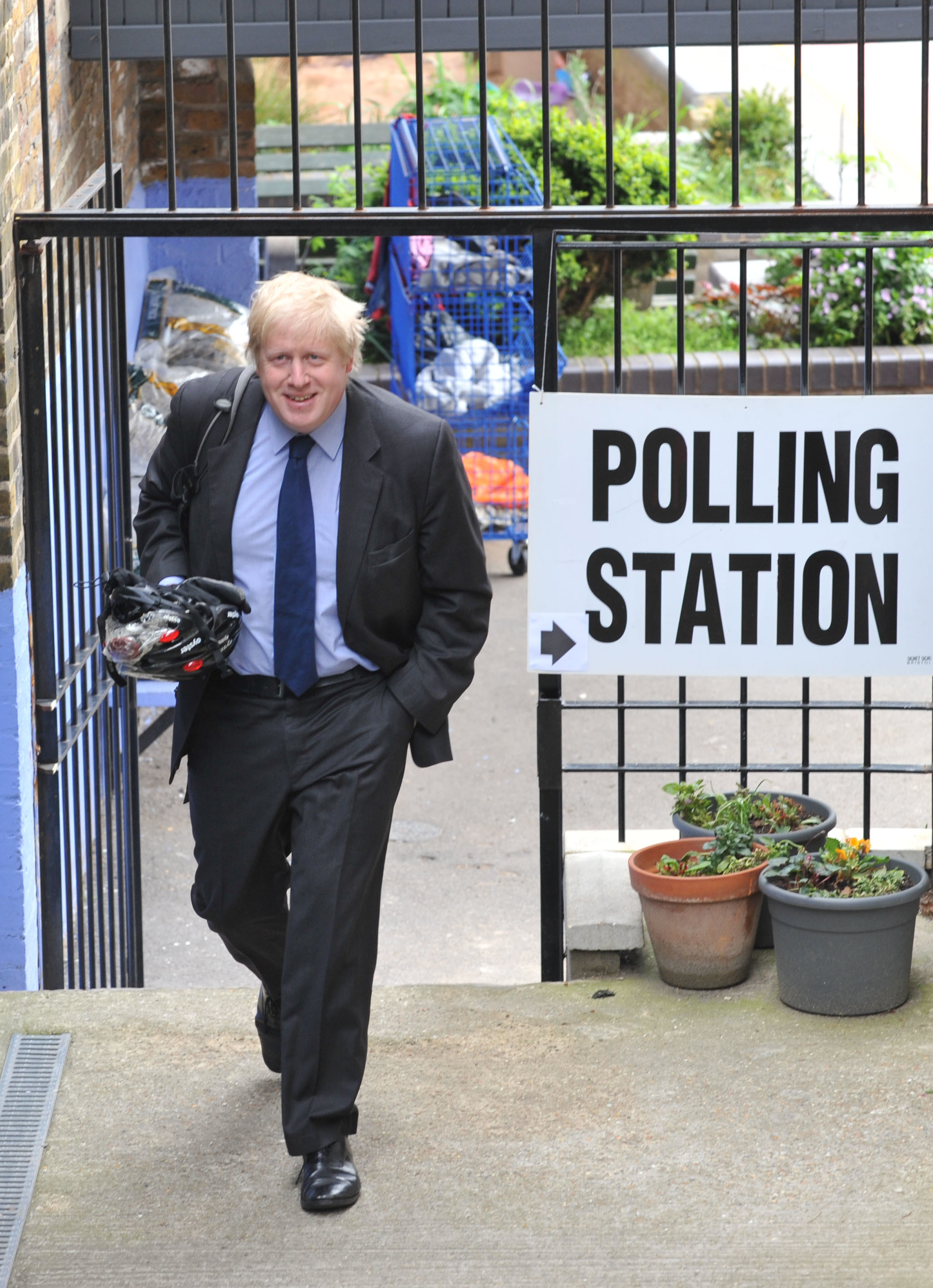 London Mayor Boris Johnson leaves after casting his vote in Islington, London.