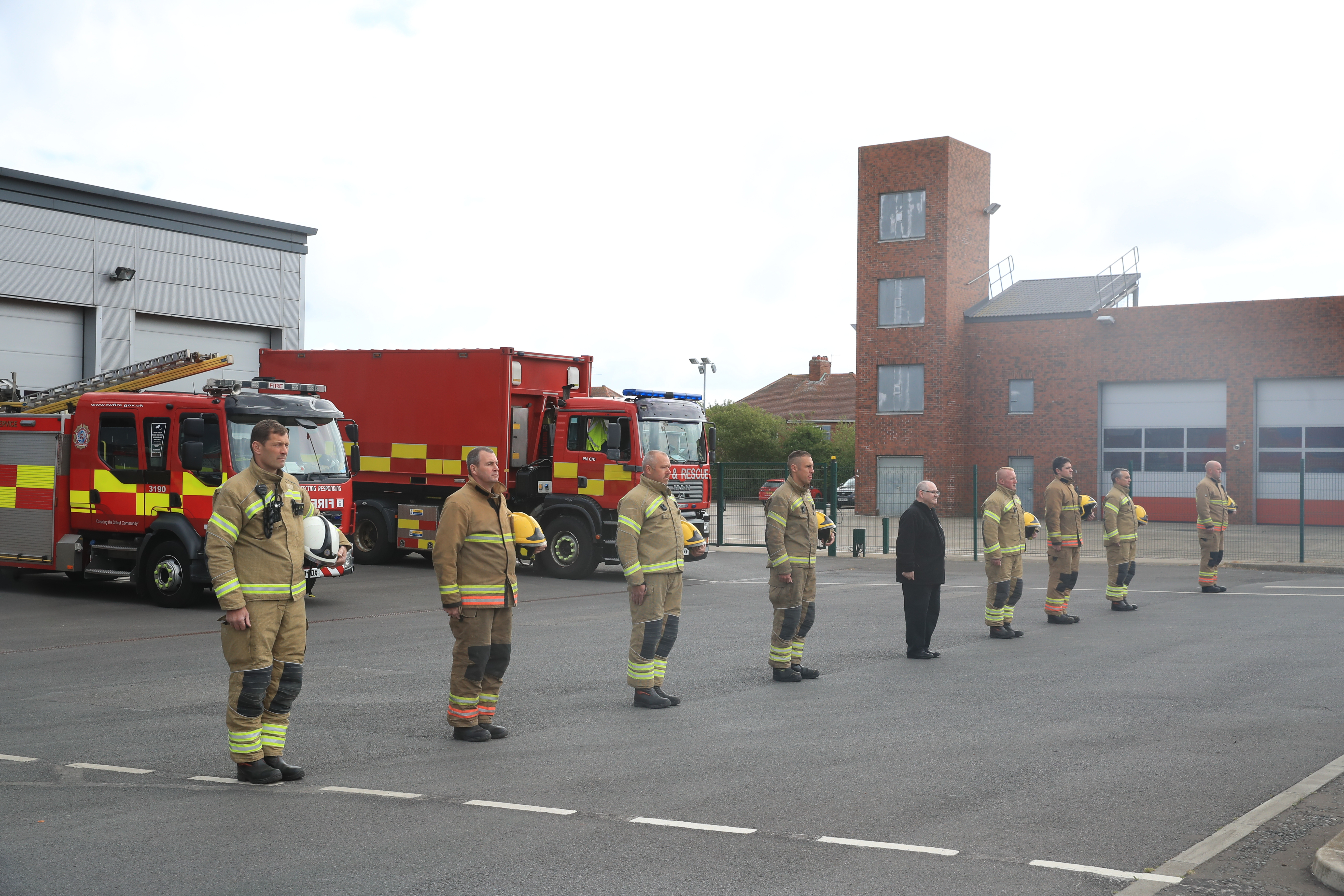 Firefighters observe a minute's silence outside Tynemouth Community Fire Station, during Firefighters Memorial Day in memory their colleagues that lost their lives in the line of duty across the UK and around the world.