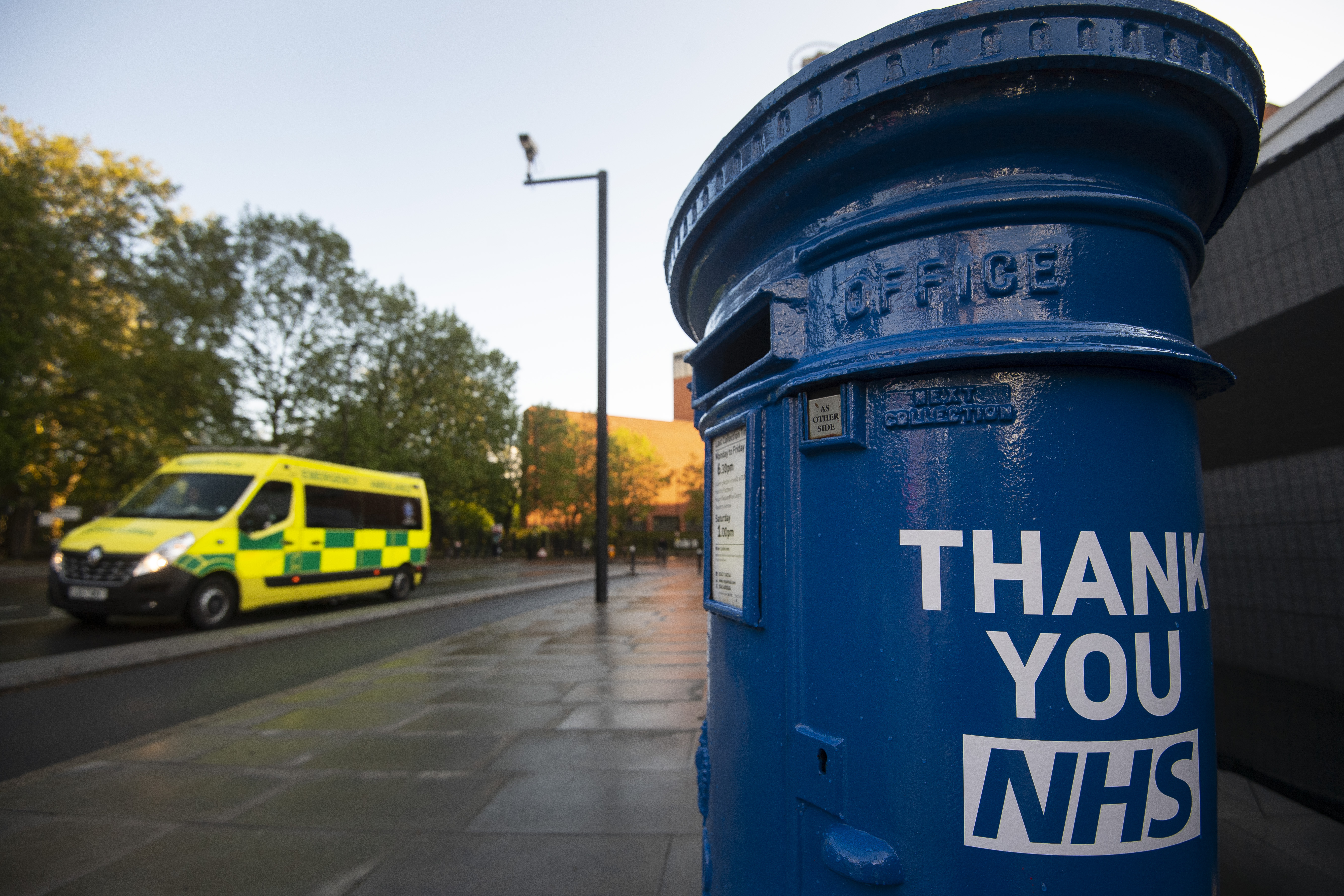 A blue postbox in support of the NHS outside St Thomas's Hospital in central London as the UK continues in lockdown to help curb the spread of the coronavirus.