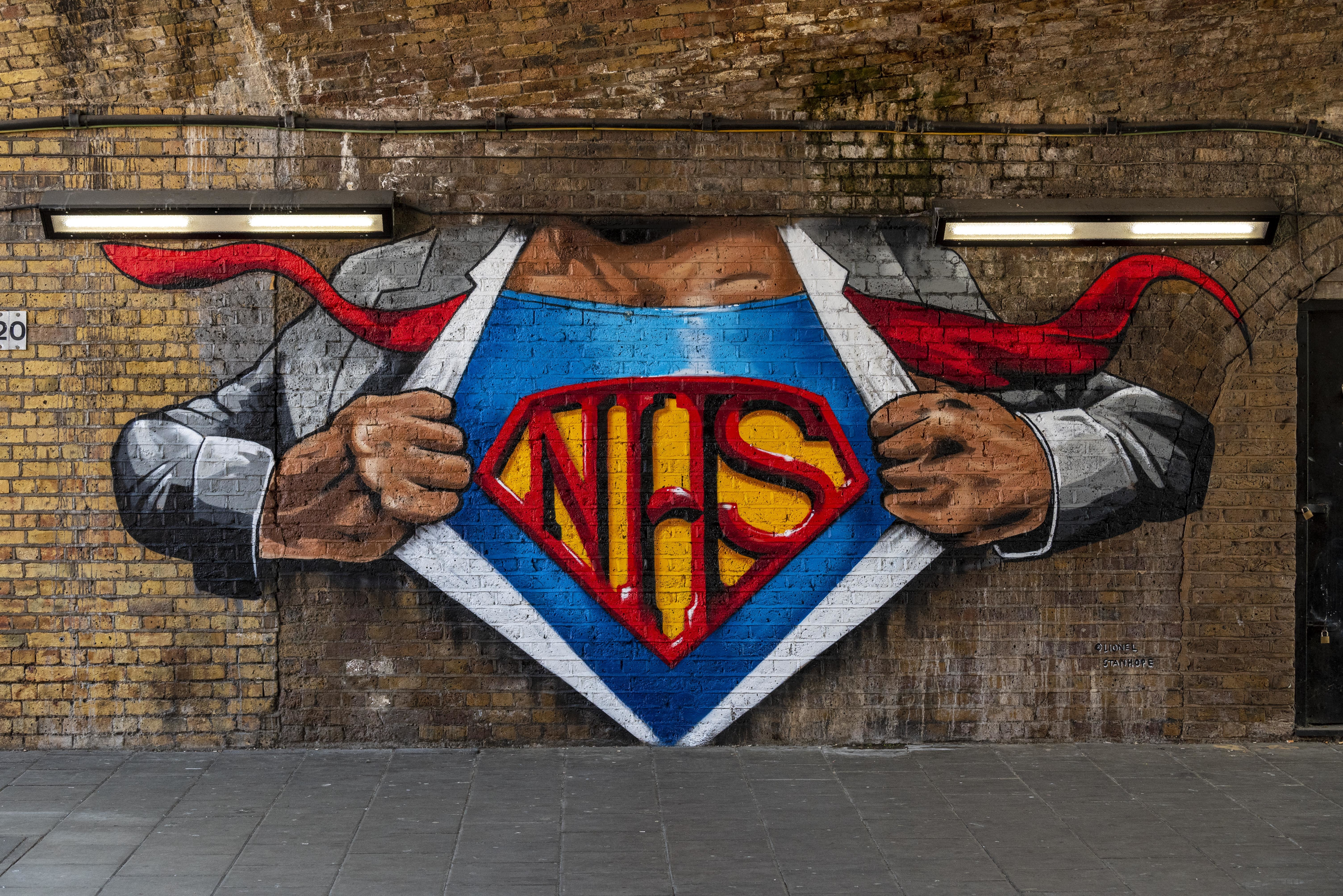 Brockley Street artist, Lionel Stanhope's reworked mural on Cornwall Road under Waterloo East station in London paying tribute to our health service heroes (NHS). (Photo by Dave Rushen / SOPA Images/Sipa USA)