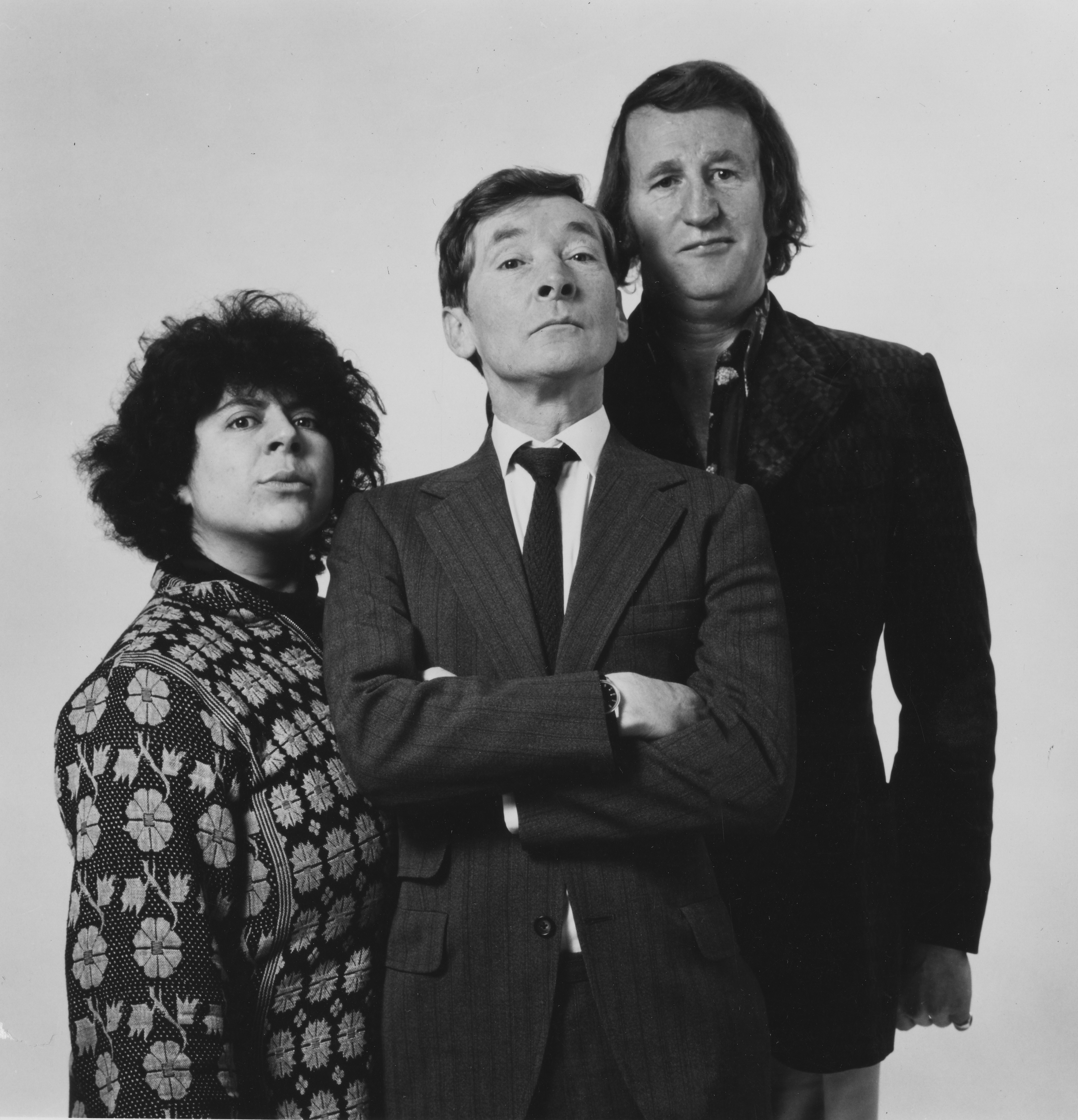 Portrait of comic actors (L-R) Miriam Margolyes, Kenneth Williams and Lance Percival, photographed for Radio Times in connection with the BBC Radio series 'Oh, Get On With It!', 1976. First printed in Radio Times issue 2724, page 4, January 22nd 1976. (Photo by Radio Times/Getty Images)