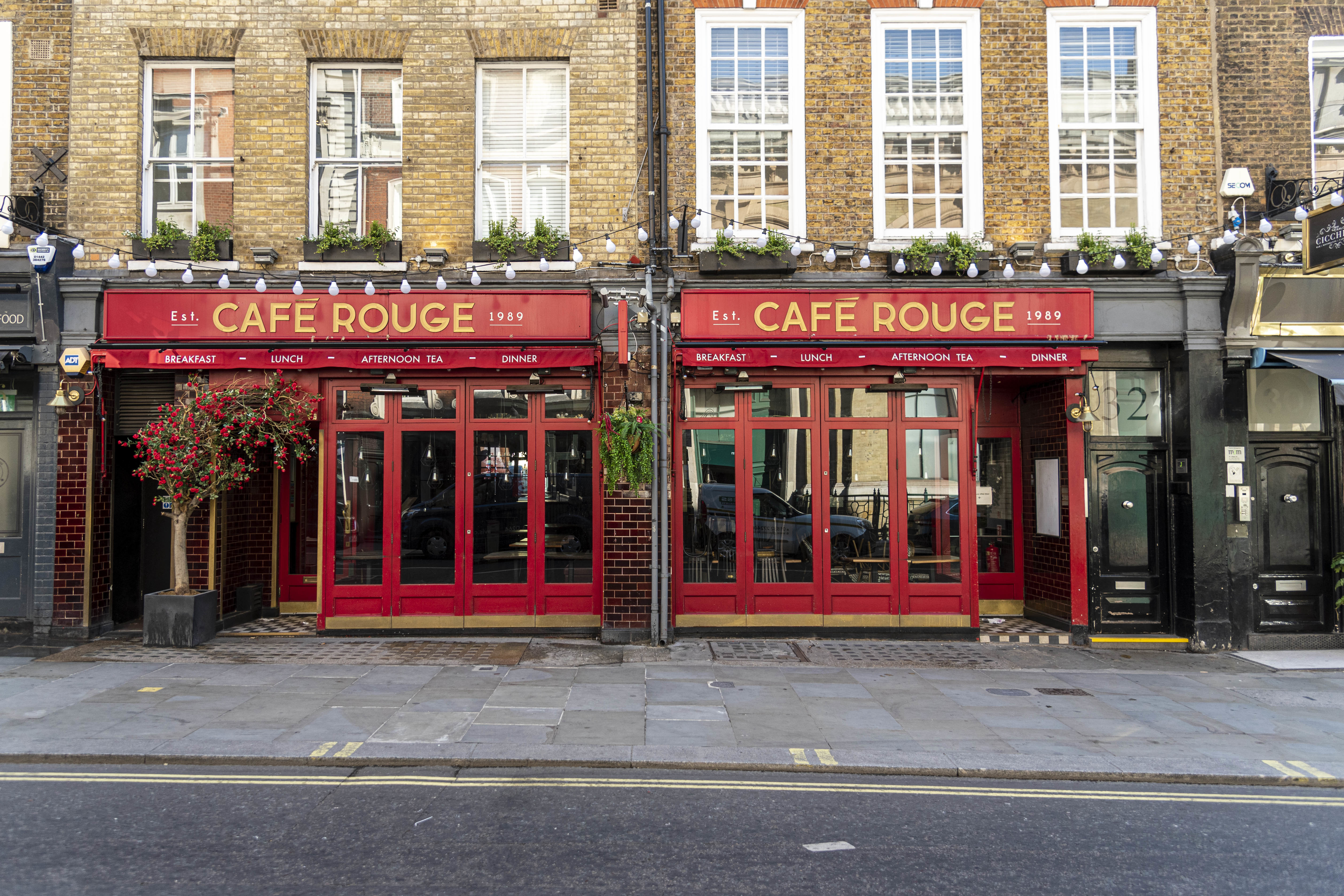 French-styled restaurant chain, Caf� Rouge seen at The Wellington, London. The owner of the Bella Italia and Caf� Rouge restaurant chains has said it is considering administration as the coronavirus crisis pushes the struggling business near to collapse, putting 6,000 jobs at risk. (Photo by Dave Rushen / SOPA Images/Sipa USA)