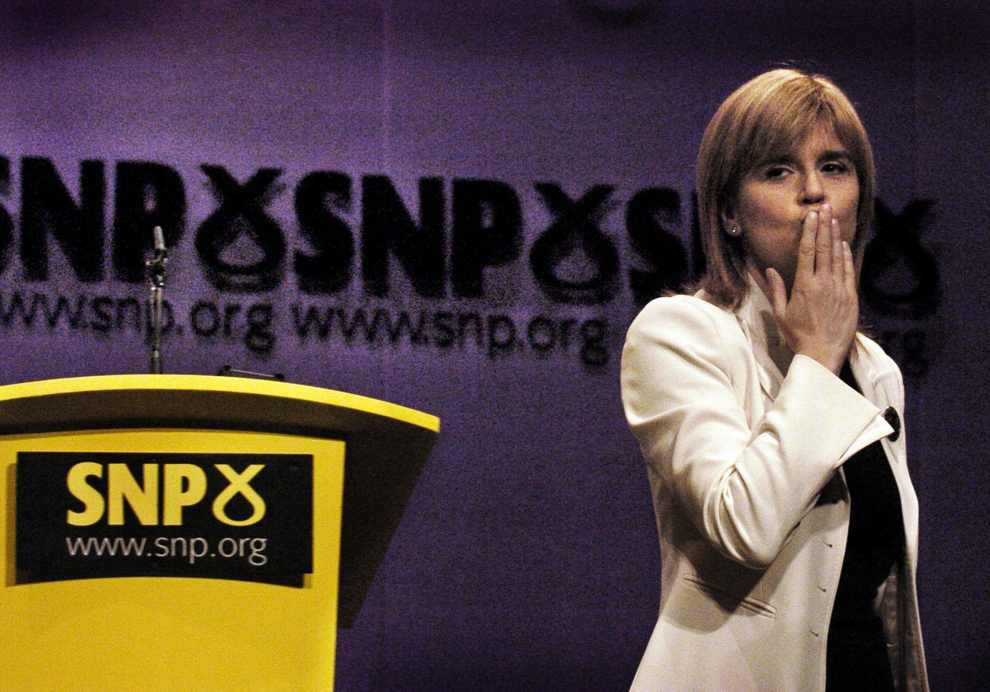 Deputy Leader of the Scottish National Party Nicola Sturgeon thanks the audience after giving her speech at the party conference in Inverness, Scotland.