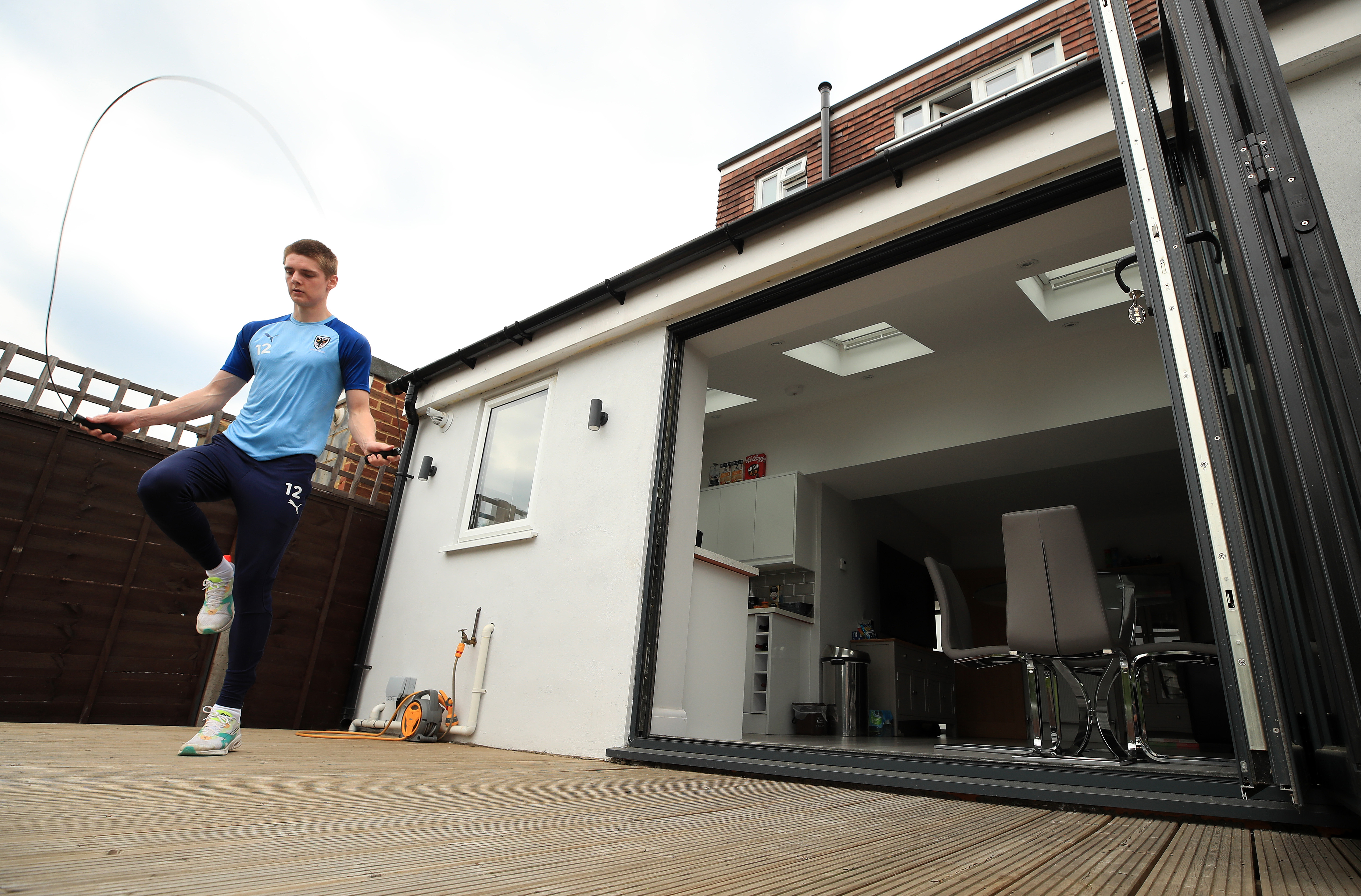 CHEAM, ENGLAND - MAY 27: AFC Wimbledon Footballer Jack Rudoni trains at home during the Coronavirus Pandemic on May 27, 2020 in Cheam, England. (Photo by Andrew Redington/Getty Images)