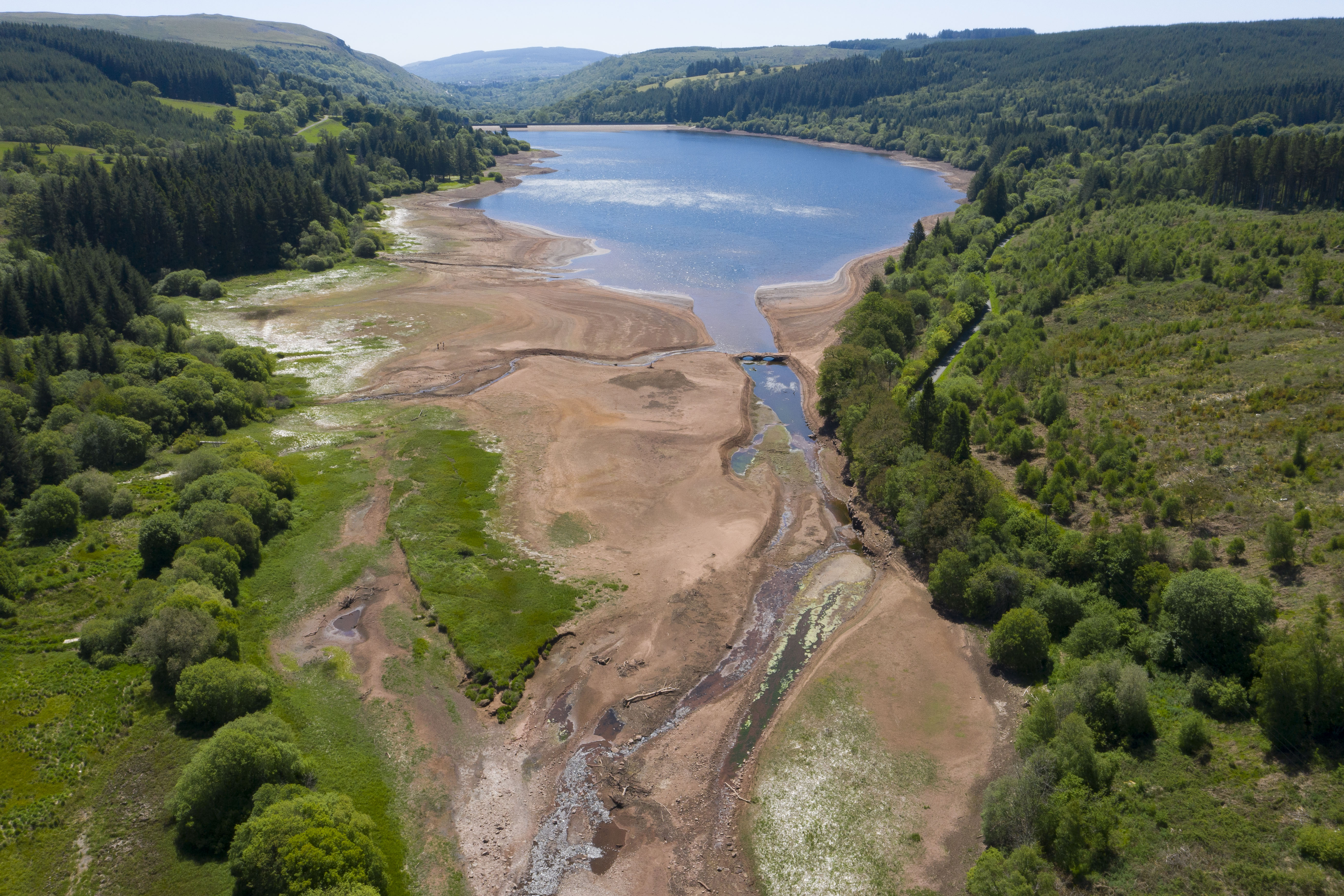 MERTHYR TYDFIL, UNITED KINGDOM - MAY 29: An aerial view of low water levels in the Llwyn-on reservoir in Taf Fawr valley on May 29, 2020 in Merthyr Tydfil, United Kingdom. The Met Office have said May is on course to be the driest in 124 years with only 14.3mm of rain since the month began - 17% of what is normally expected. (Photo by Matthew Horwood/Getty Images)