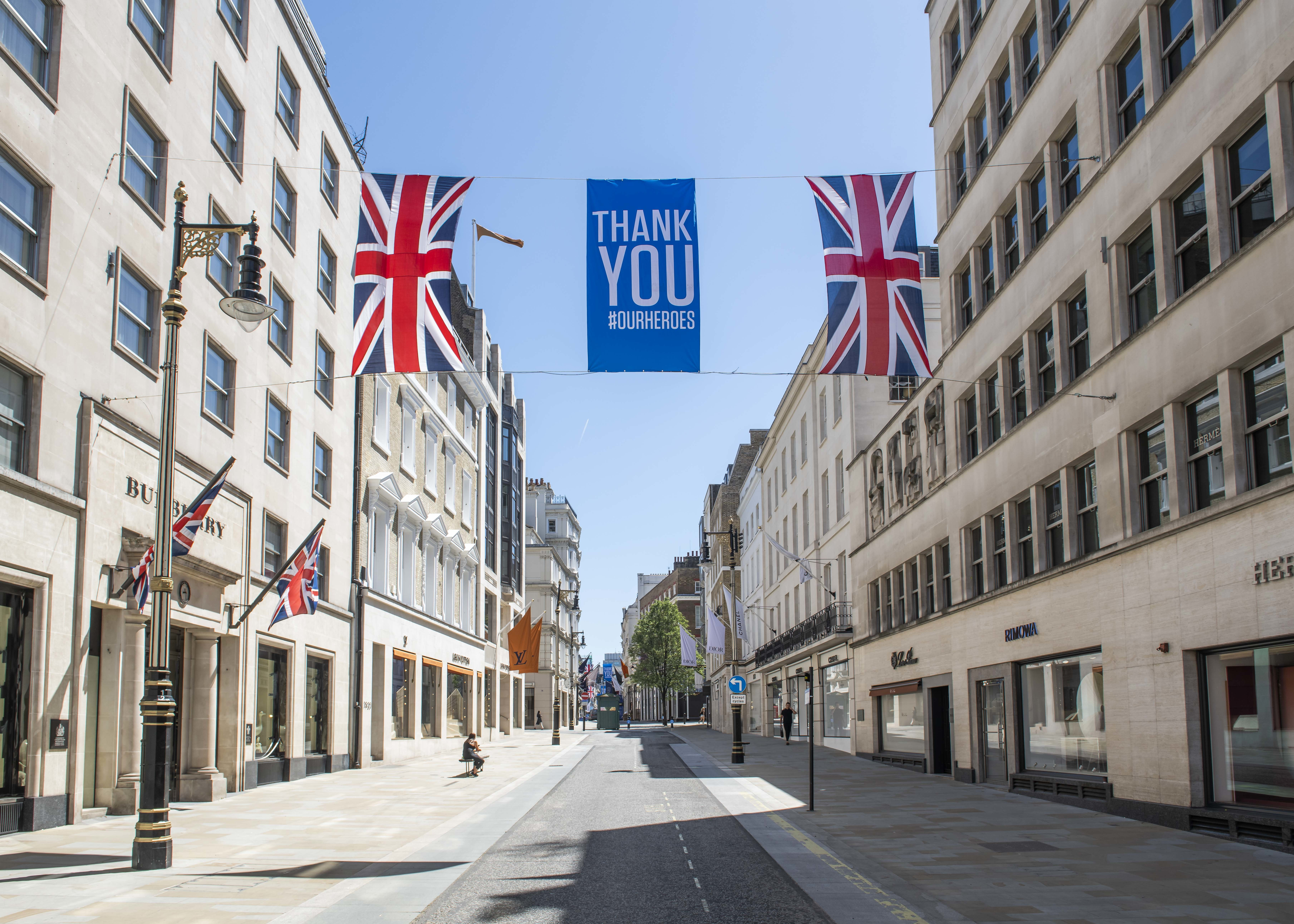Thank You Our Heroes and Union Flags are displayed over New Bond Street in preparation for the shops to reopen as the Coronavirus lockdown eases,  Mayfair, London. Picture date: Friday 29th May 2020. Photo credit should read: David Jensen/EMPICS Entertainment