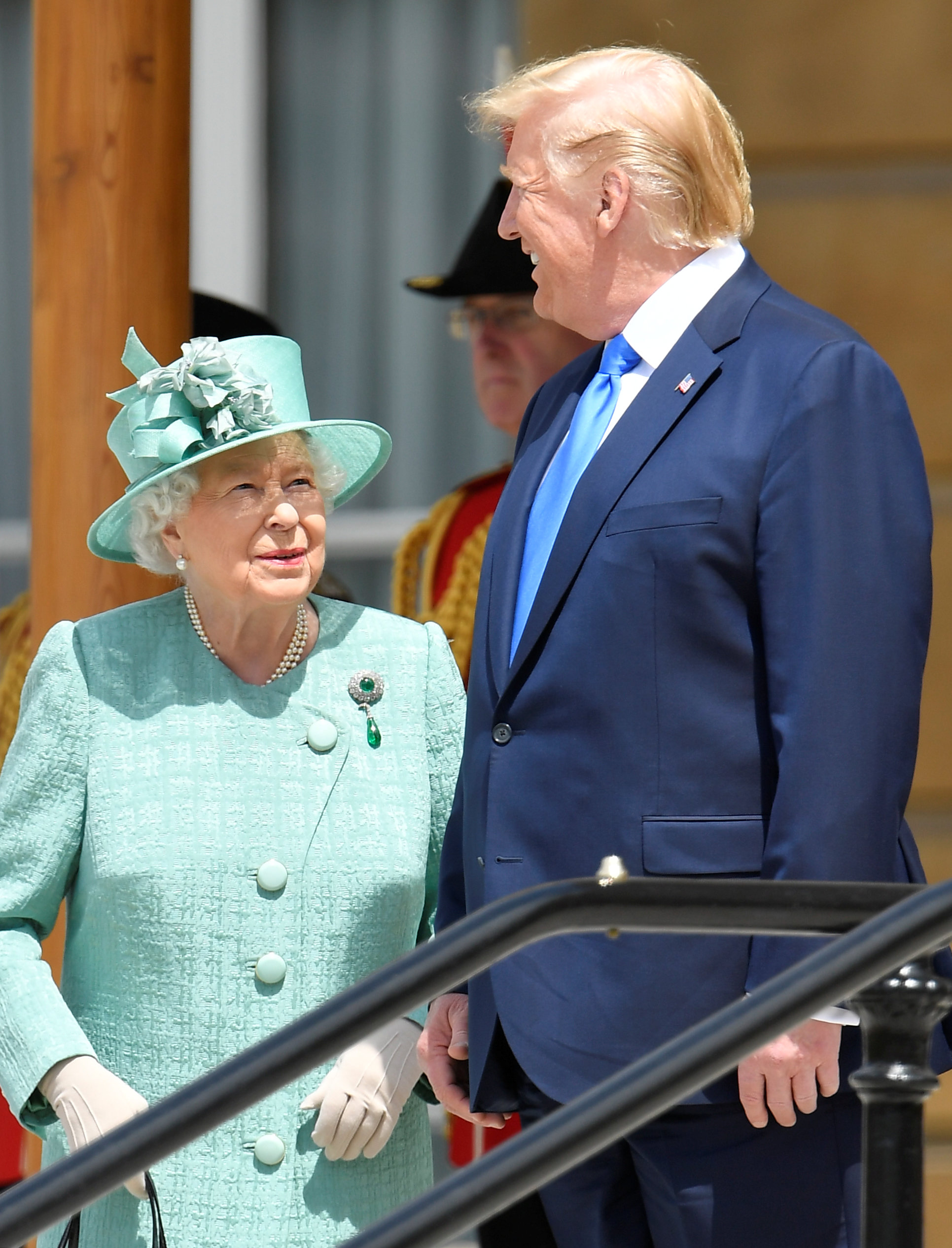 LONDON, ENGLAND - JUNE 03: Queen Elizabeth II stands with US President Donald Trump during a welcome ceremony at Buckingham Palace on June 3, 2019 in London, England. President Trump's three-day state visit will include lunch with the Queen, and a State Banquet at Buckingham Palace, as well as business meetings with the Prime Minister and the Duke of York, before travelling to Portsmouth to mark the 75th anniversary of the D-Day landings. (Photo by Toby Melville - WPA Pool/Getty Images)