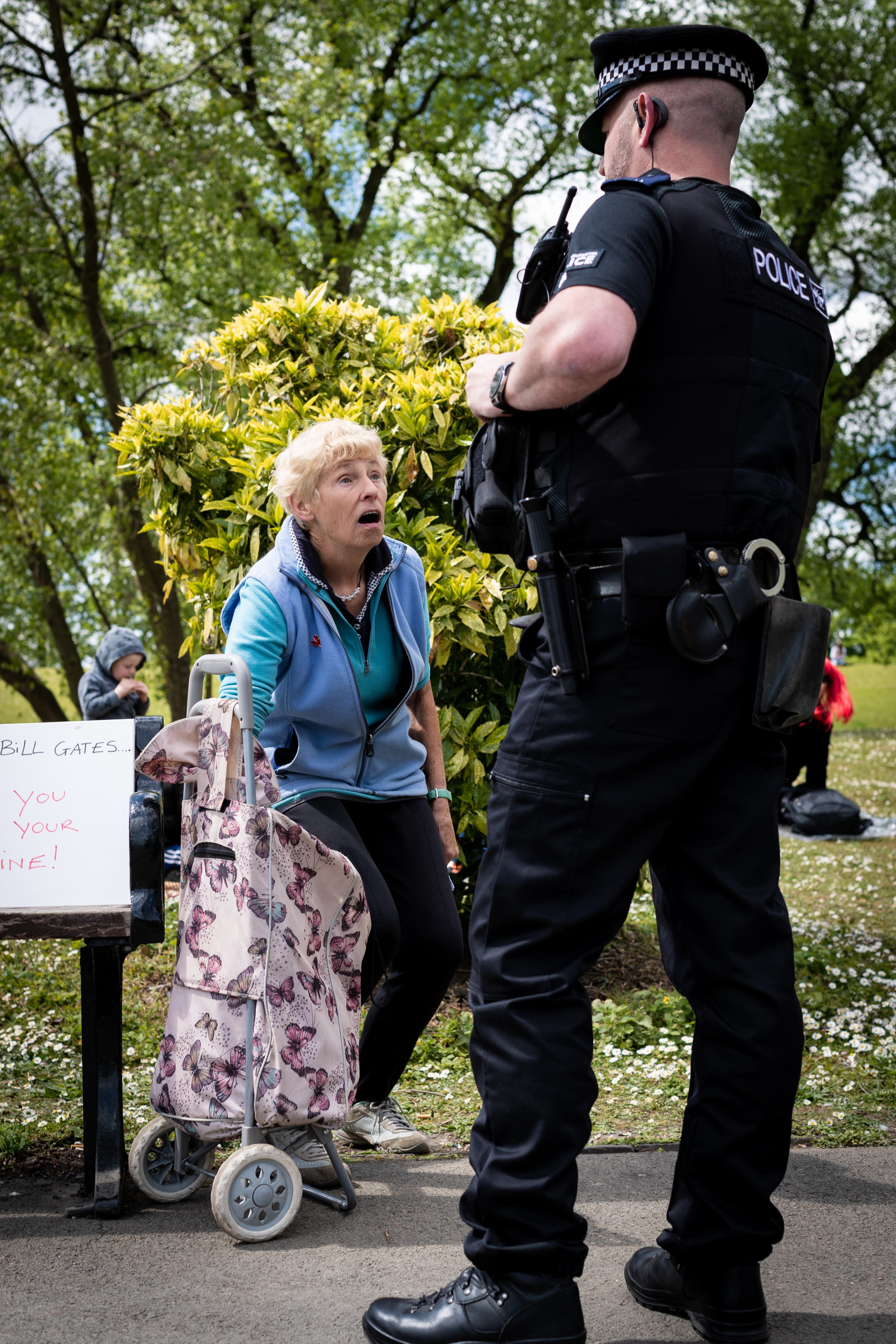 Penny seen speaking to a police officer after travelling to the city to raise her concerns about the lockdown and the proposed actions that may come due to the coronavirus. The UK Freedom Movement organised Mass Gathering events all around the country to protest against the unlawful lockdown due to the COVID-19 pandemic. (Photo by Andy Barton / SOPA Images/Sipa USA)