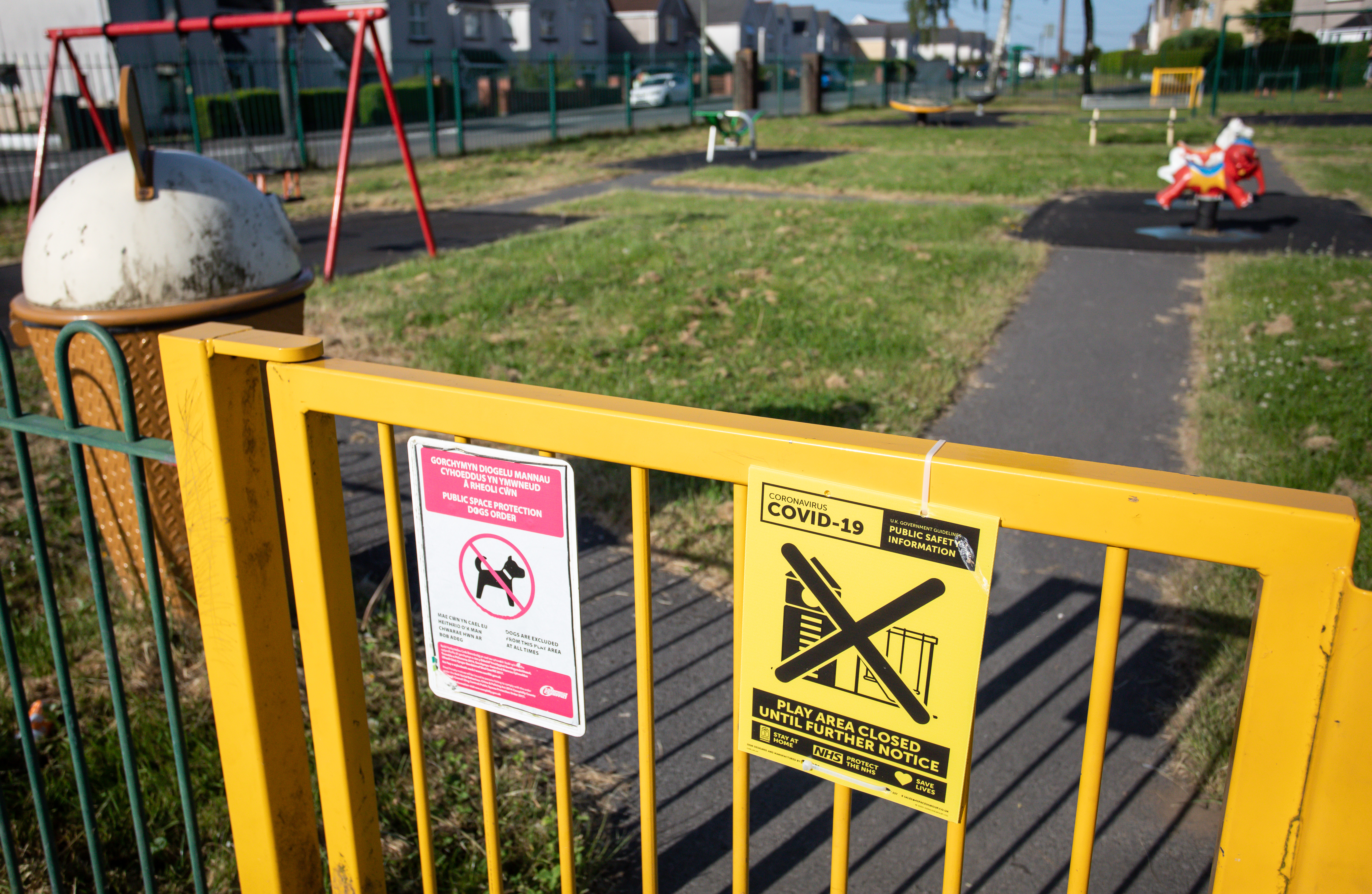 BLACKWOOD, WALES - MAY 28:  A general view of an entrance to a children's play area where restrictions on entrance remains enforce since the start of the pandemicon May 28, 2020 in Blackwood, Wales, United Kingdom. The British government continues to ease the coronavirus lockdown by announcing schools will open to reception year pupils plus years one and six from June 1st. Open-air markets and car showrooms can also open from the same date.  (Photo by Huw Fairclough/Getty Images)