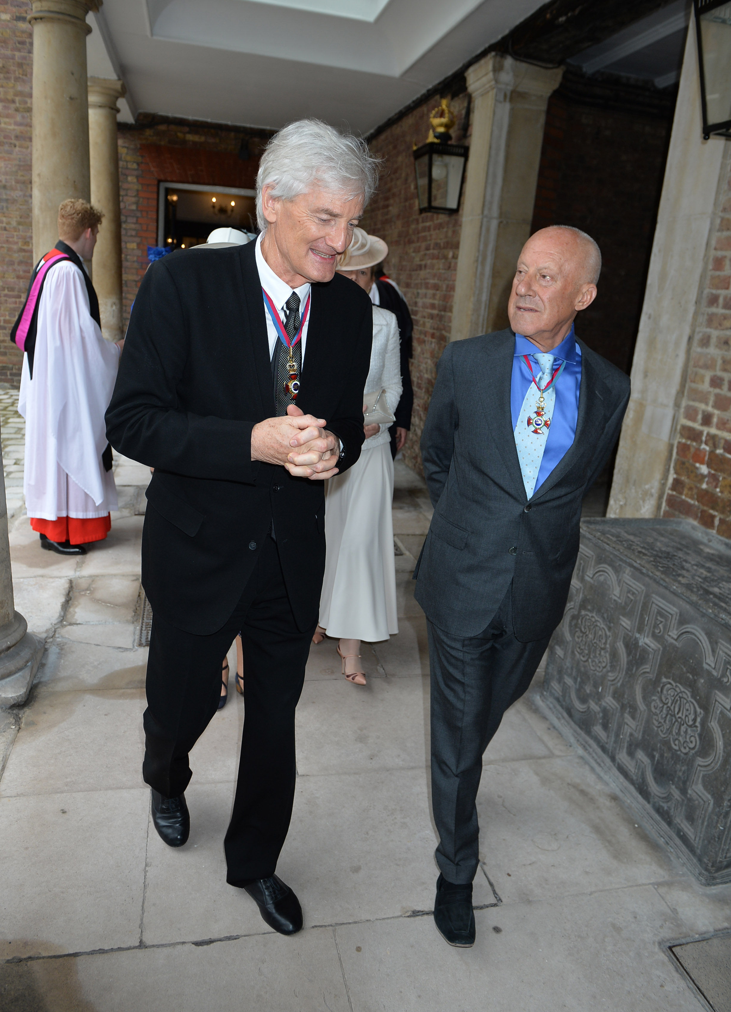 Sir James Dyson (left) and Lord Foster of Thames Bank arriving at Chapel Royal in St James's Palace, London, for an Order of Merit service.
