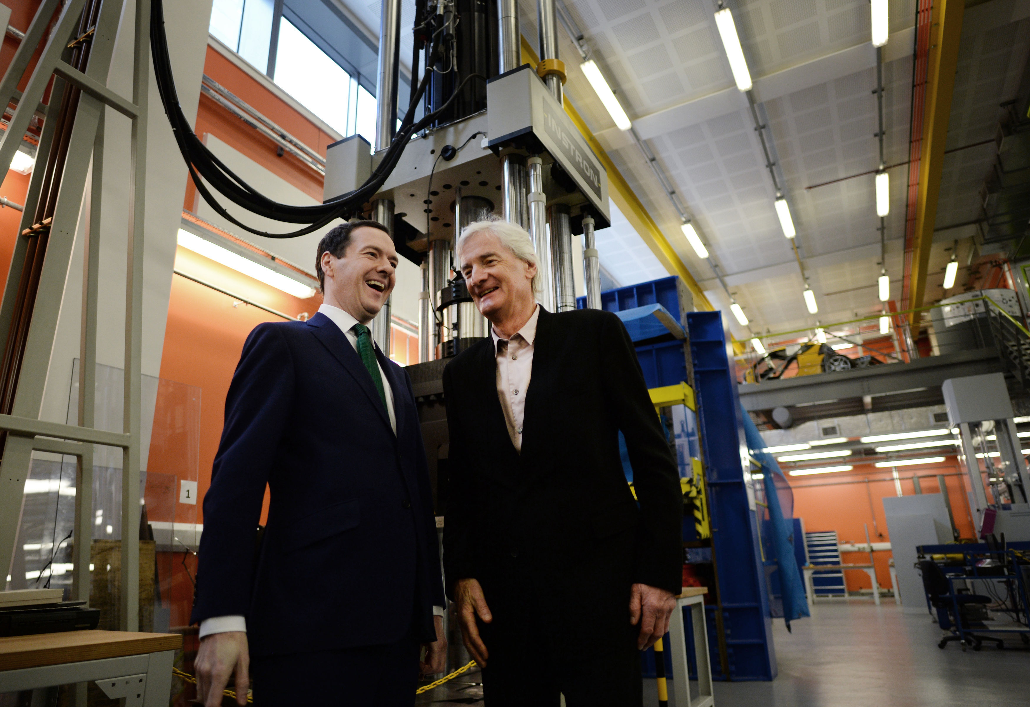 Chancellor of the Exchequer George Osborne (left) talks with designer and inventor, James Dyson, during a visit to the Science Museum and Imperial College in London, where they met students and staff before announcing a £12 million donation to the new Dyson School of Design Engineering.