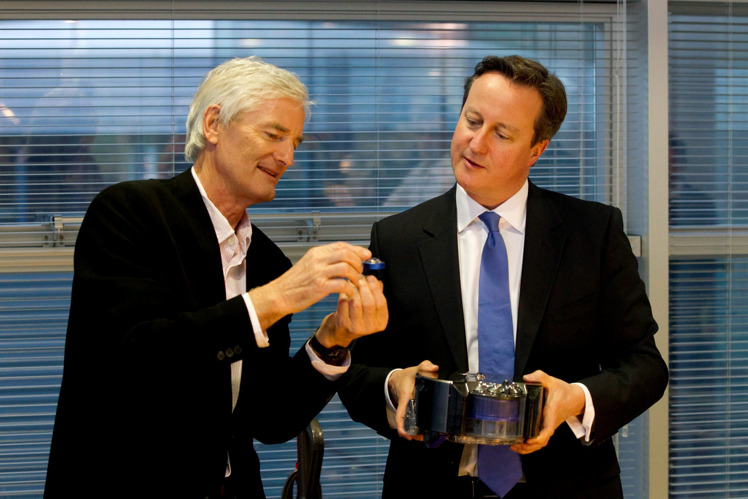 Prime Minister David Cameron (right) at the Dyson Vacuum Factory in Malmesbury with James Dyson.