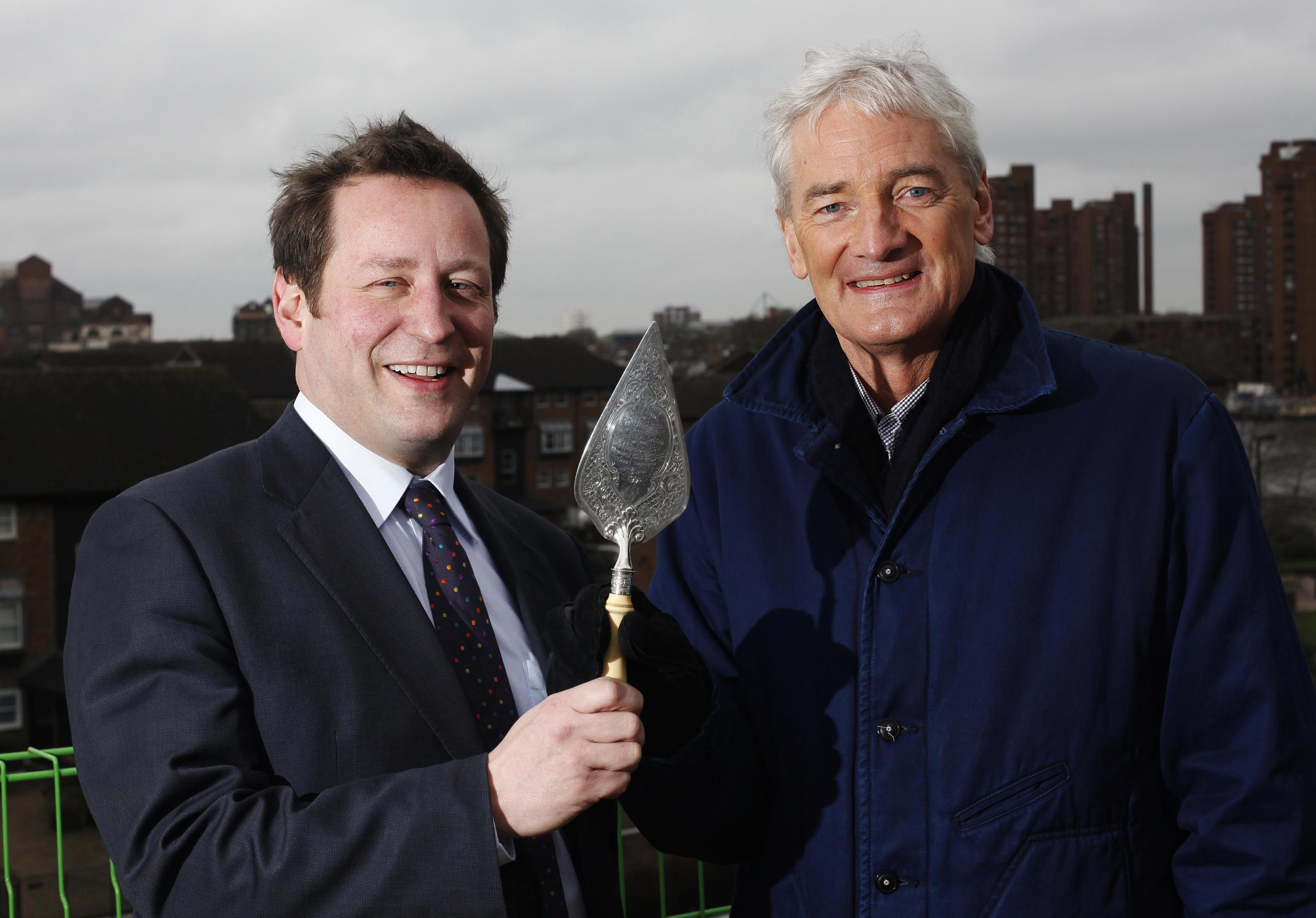 James Dyson and Ed Vaizey MP, Minister with responsibility for Communication, Culture and the Creative Industries, at the top of the Royal College of Arts new building in Battersea for the topping out ceremony.