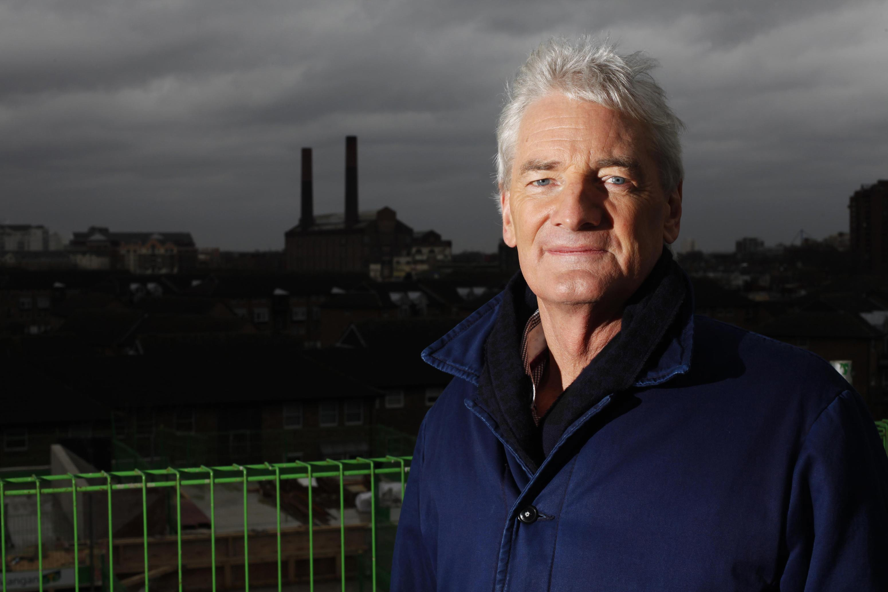 James Dyson at the top of the Royal College of Arts new building in Battersea for the topping out ceremony.