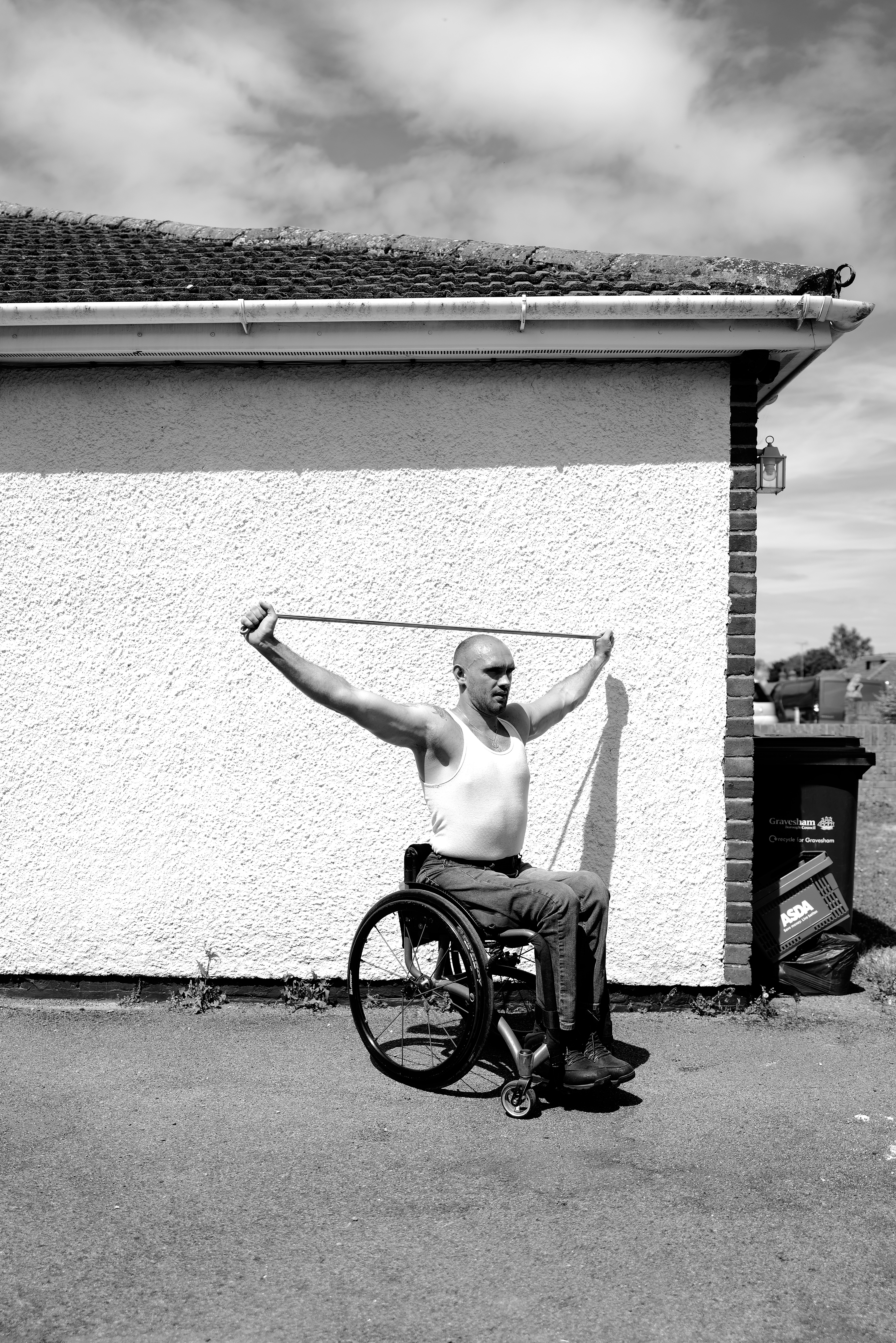 WEST KINGSDOWN, ENGLAND - MAY 26: (EDITORS NOTE: Image has been shot in black and white. Color version not available.) GB Paralympian Johnboy Smith trains at home during the Coronavirus Pandemic on May 26, 2020 in West Kingsdown, England. (Photo by Julian Finney/Getty Images)
