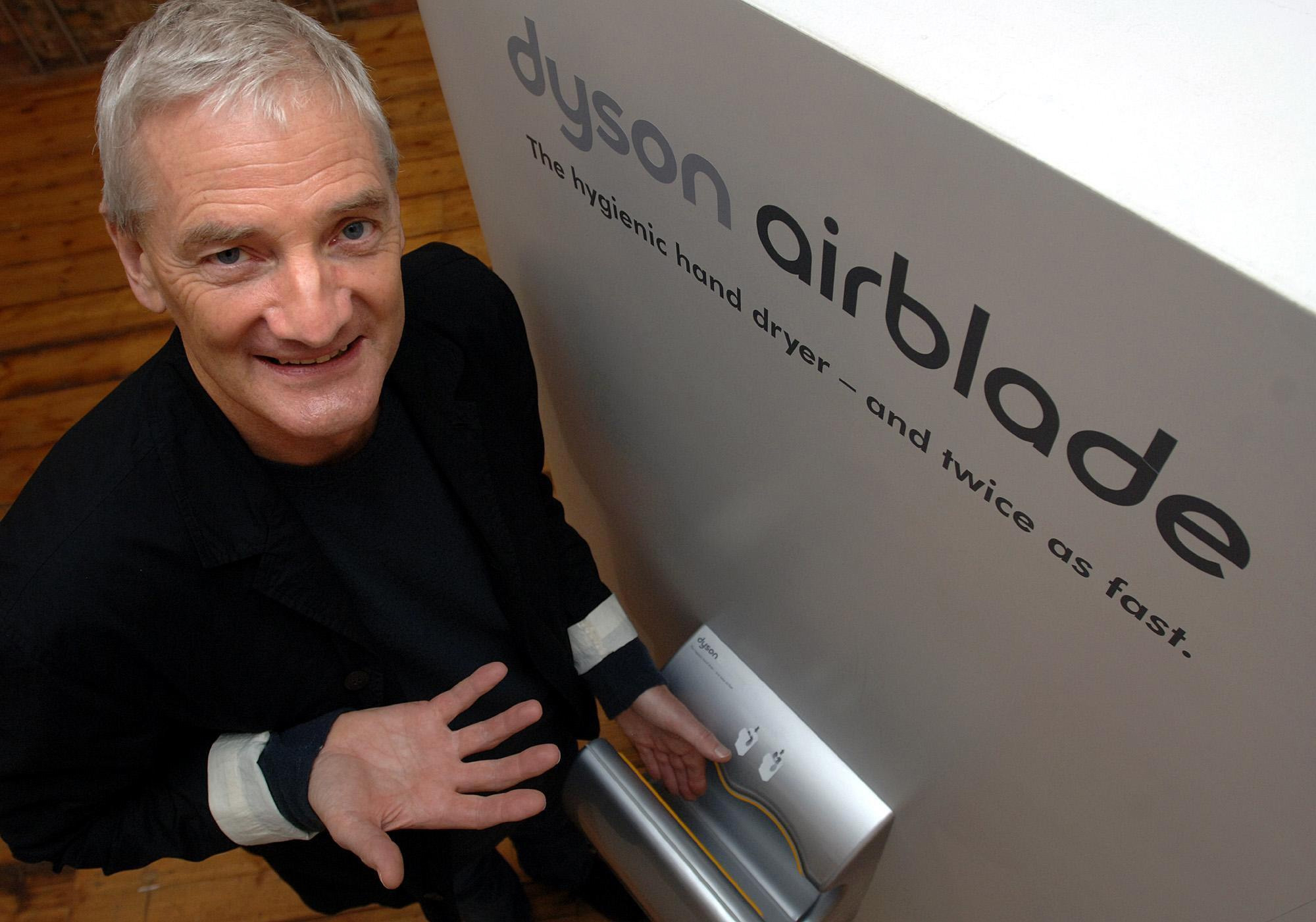Vacuum cleaner king James Dyson with his new invention the Airblade, a high-speed hand dryer for public toilets, during an unveiling in London.