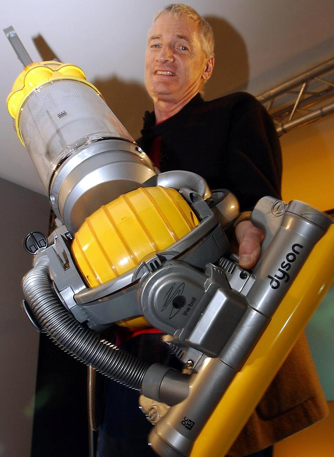 British inventor James Dyson with his new Dyson Ball vacuum cleaner during the product launch.