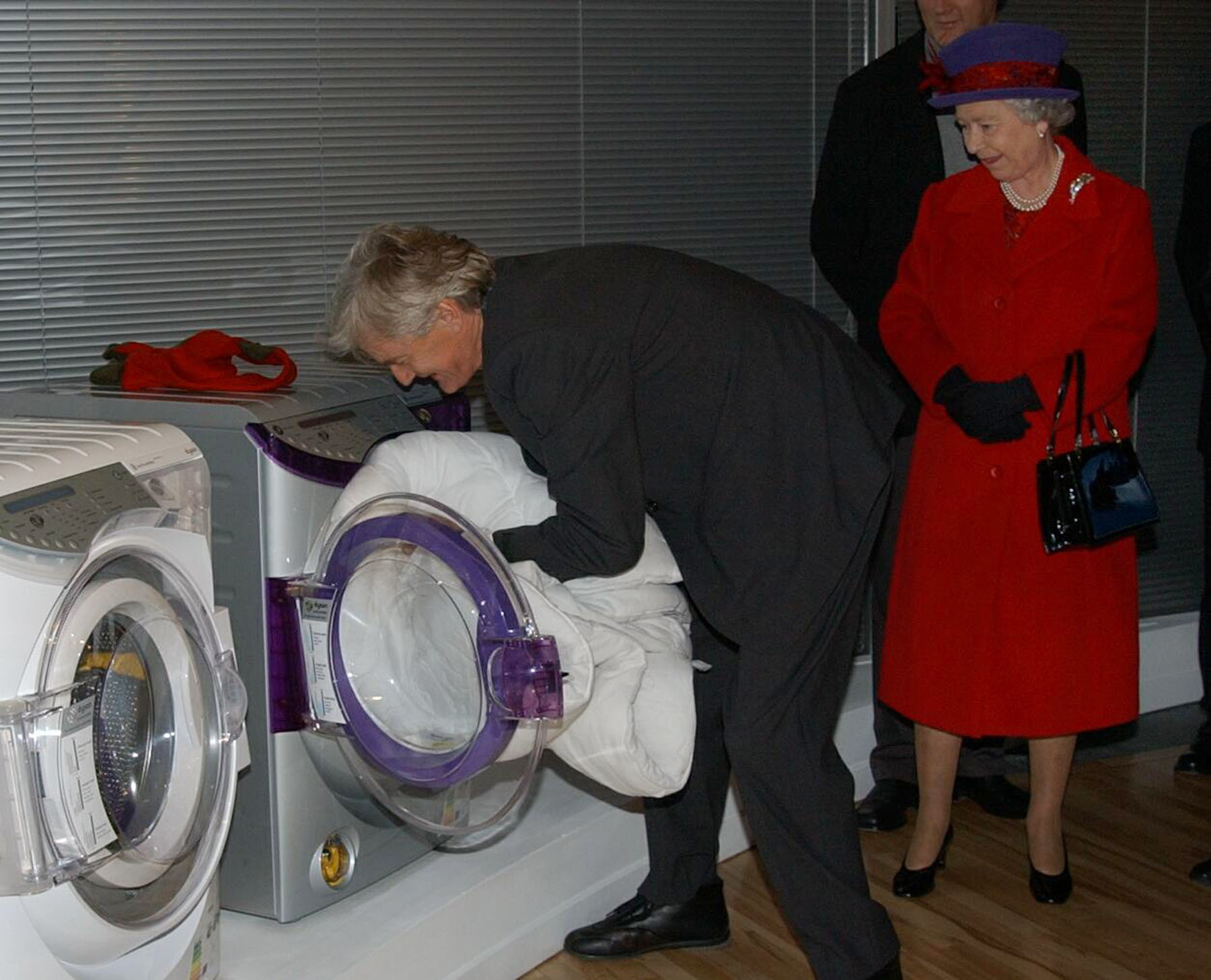 The Queen and the Duke of Edinburgh watch James Dyson demonstrate his washing machine at the domestic appliance maker's Malmesbury factory near Chippenham in Wiltshire.   * She travelled by scheduled train with the Duke of Edinburgh for a day of engagements around the area.